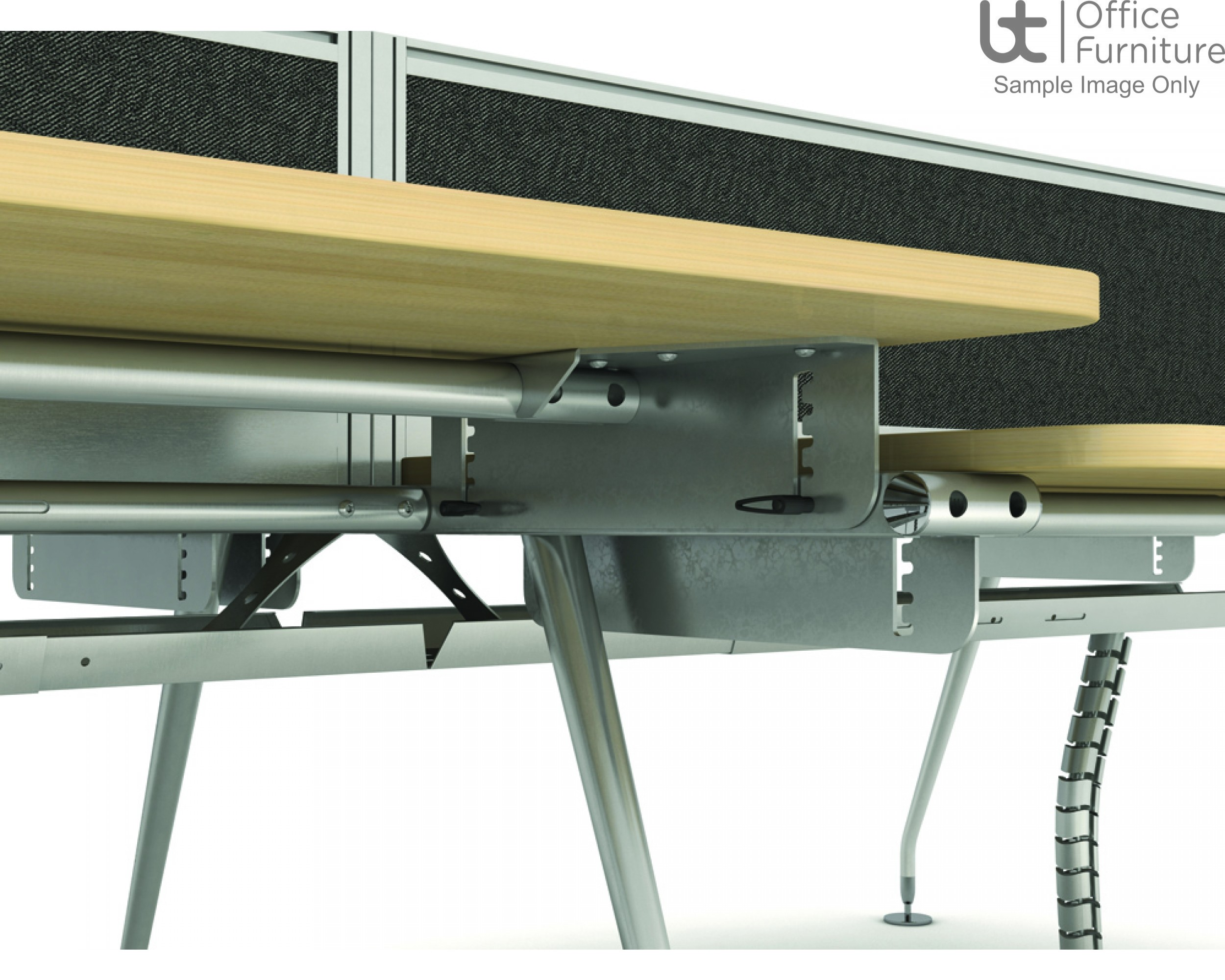 Vega Back To Back Add-On Module Beam Desk 1250mm Deep Inc Telescopic Cable Tray
