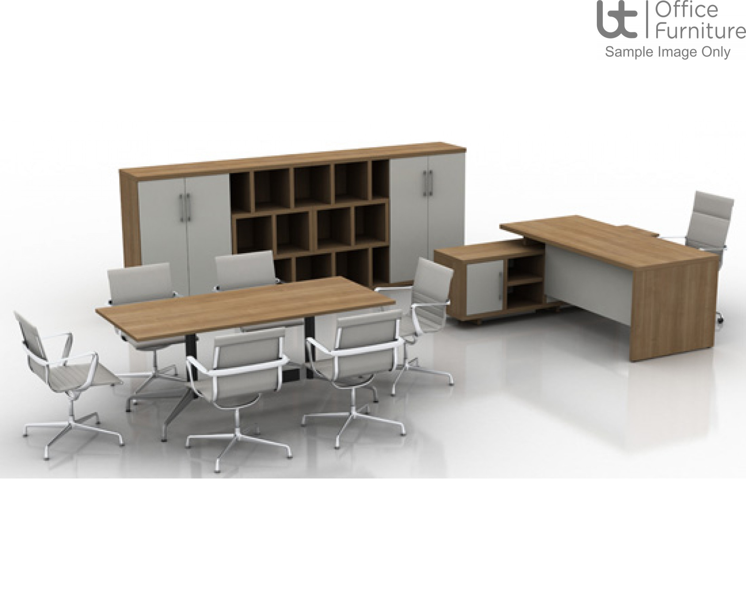 Rectangular Desk With Integrated Open Credenza And Full Length Modesty Panel