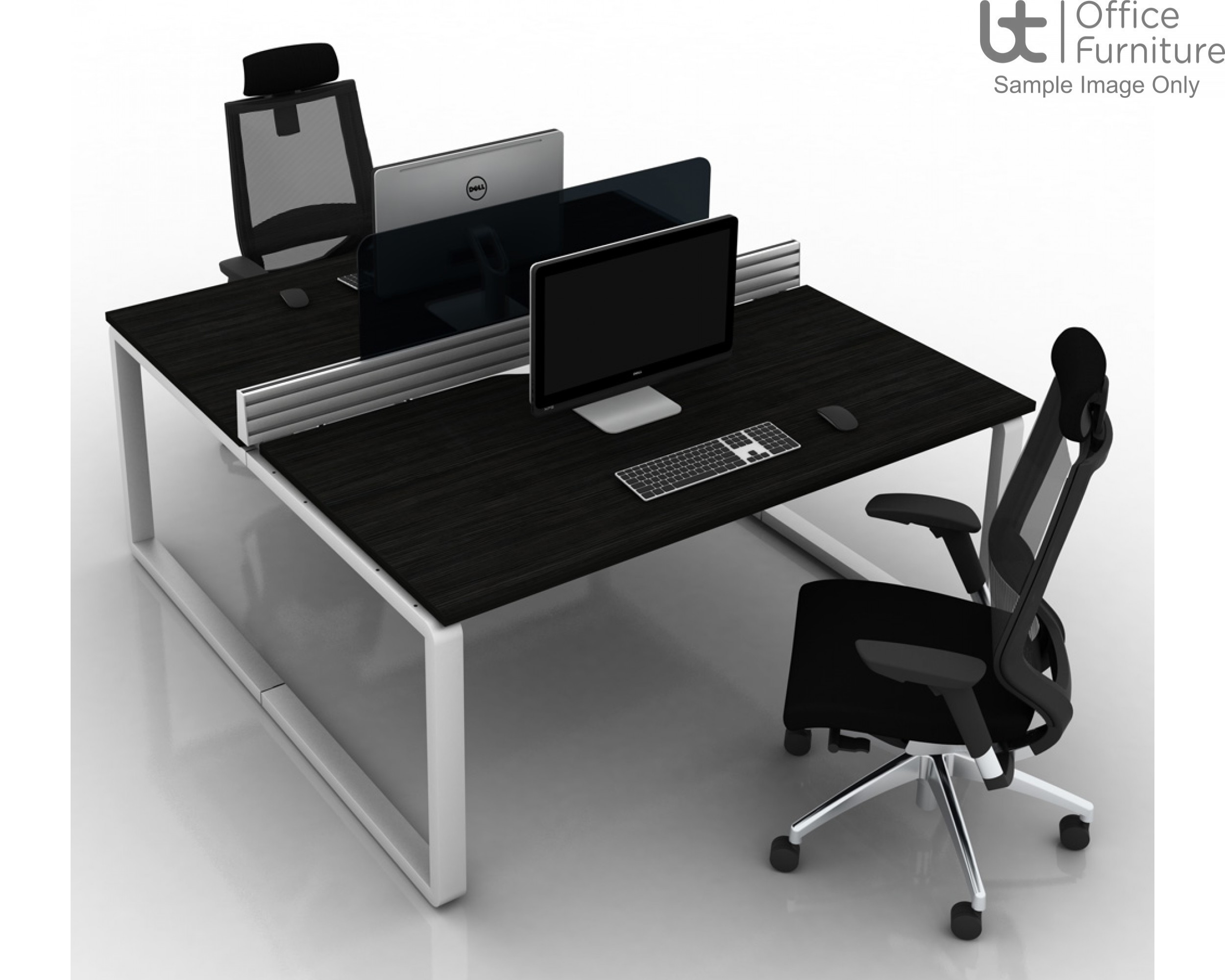 Arc Wave Desk 800-1000mm Deep - Right Hand Illustrated
