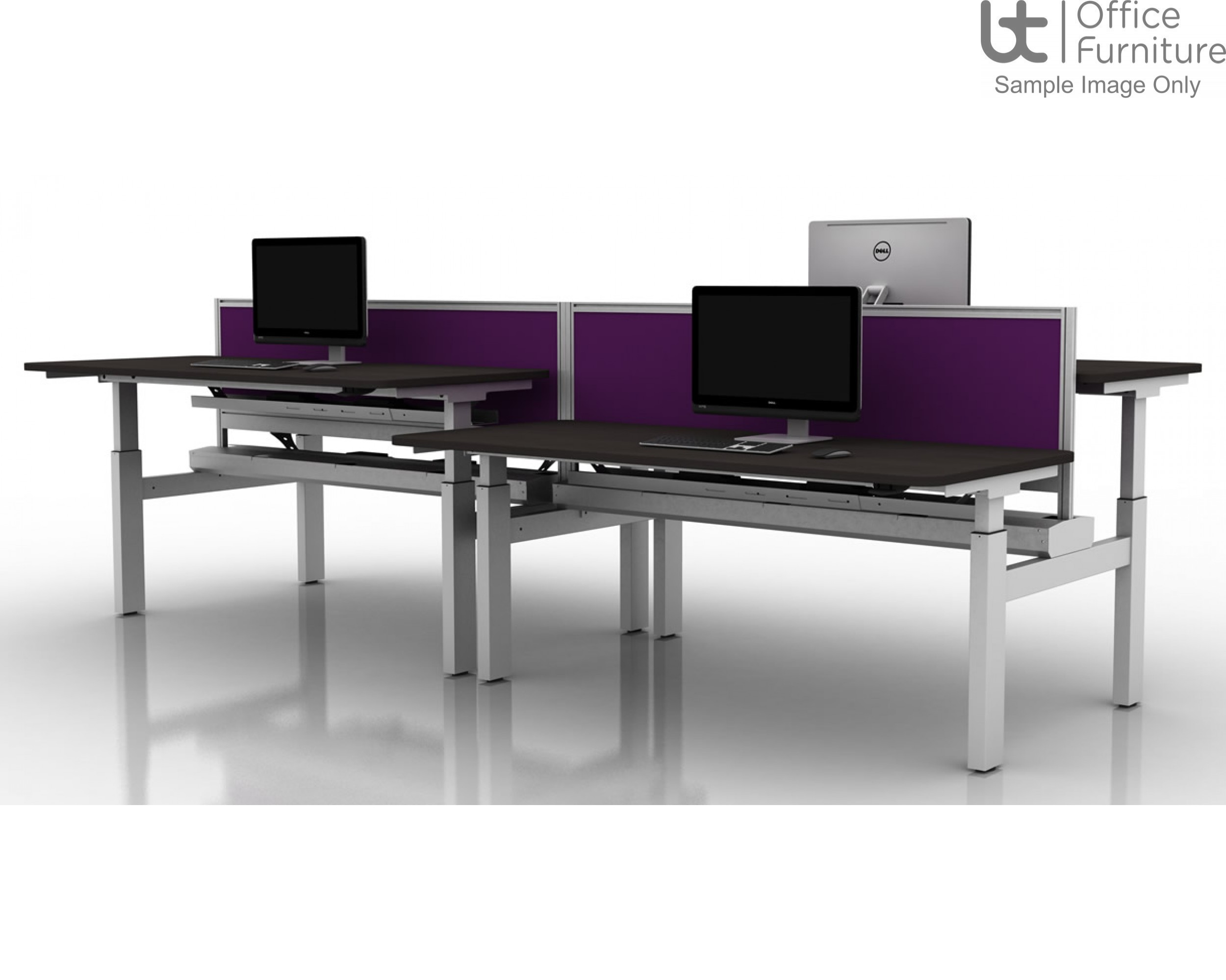 Move! Set and Forget Rectangular Height Adjustable Back To Back Sit-Stand Desk