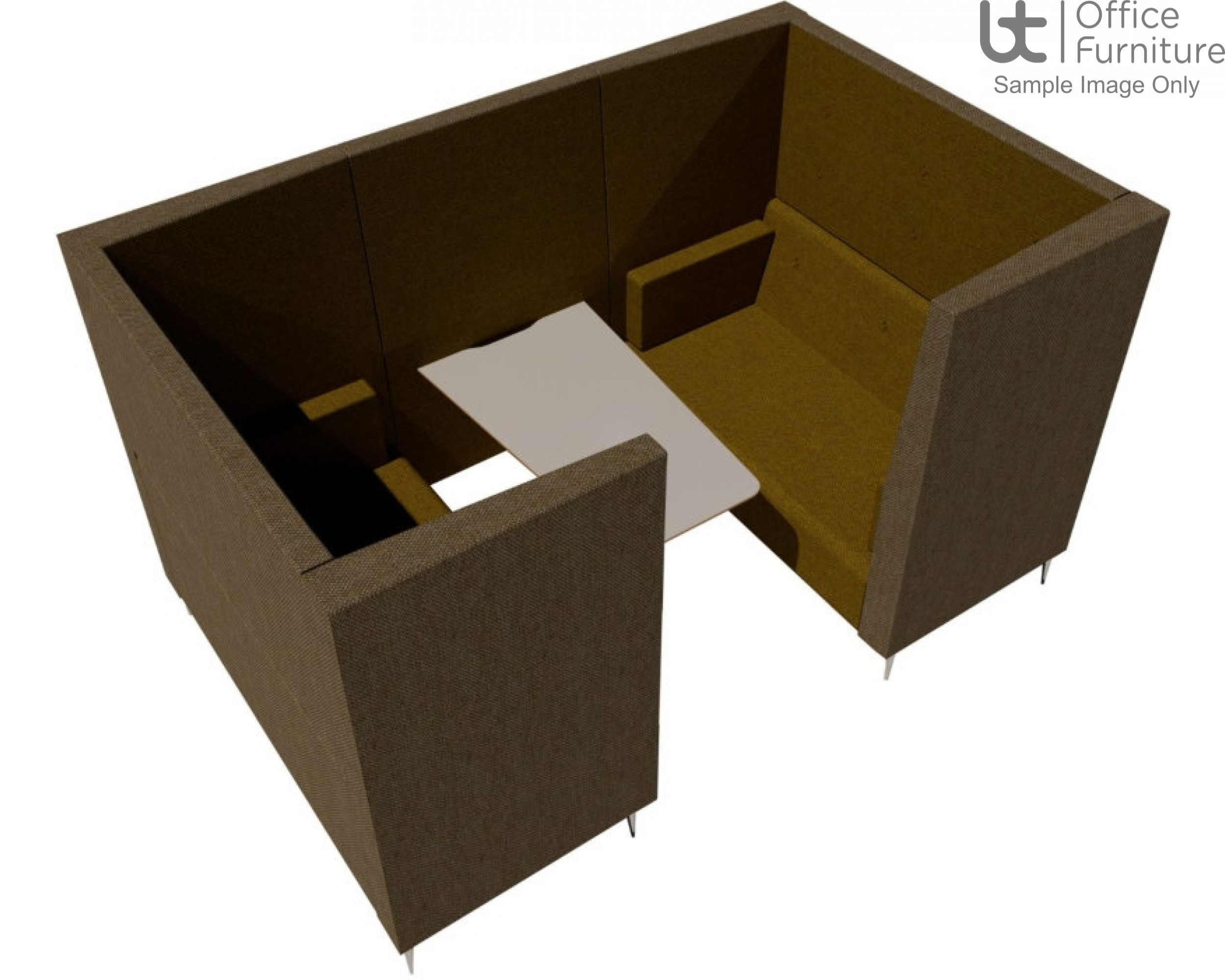 Verco Pod/Booth - Jensen-Up four person booth inc integral high acoustic surround, 800mm wide + 600mm deep MFC Table
