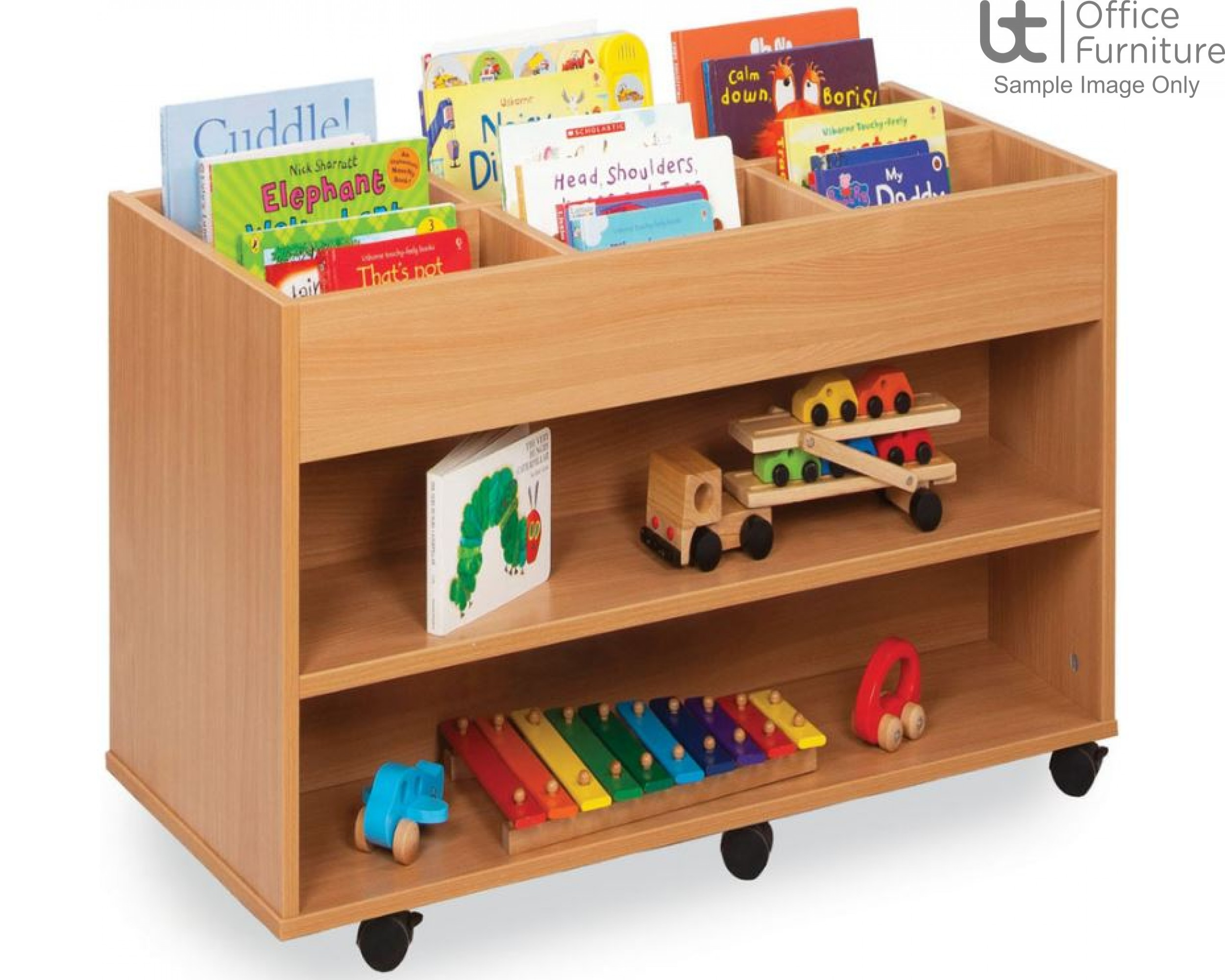 School Book Storage - 6 bay double sided kinderbox unit with 1 fixed shelf each side