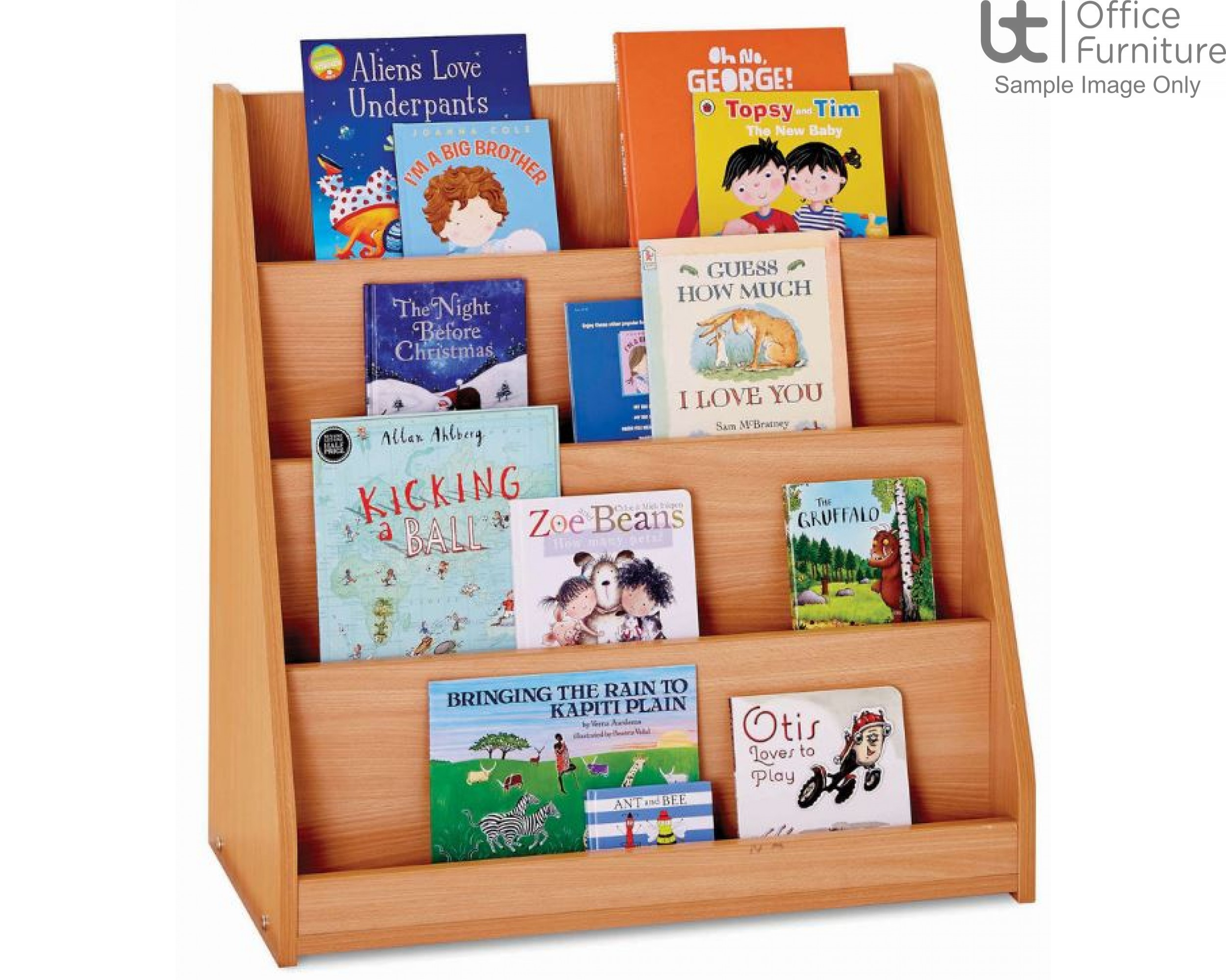 School Book Storage - Library unit, single sided with 4 stepped/tiered fixed shelves, angled and curved side panels, static