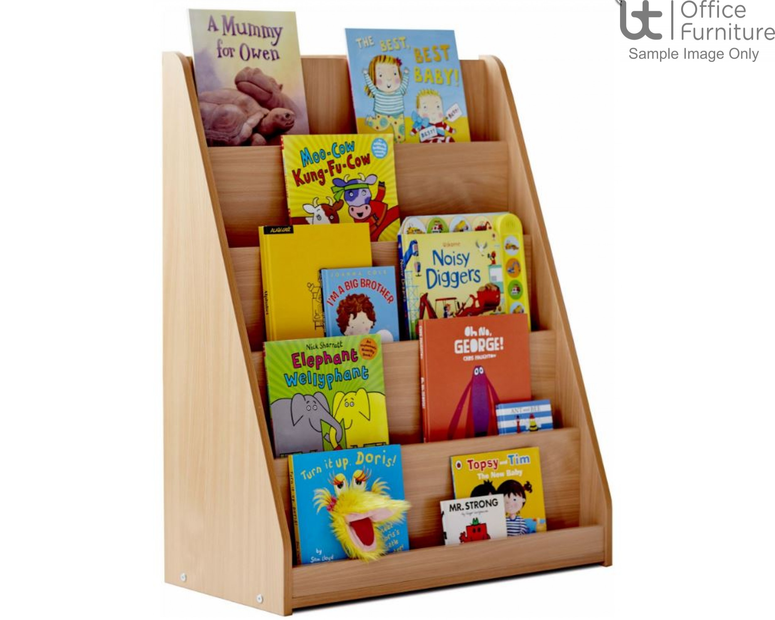 School Book Storage - Library unit, single sided with 5 stepped/tiered fixed shelves, angled and curved side panels, static