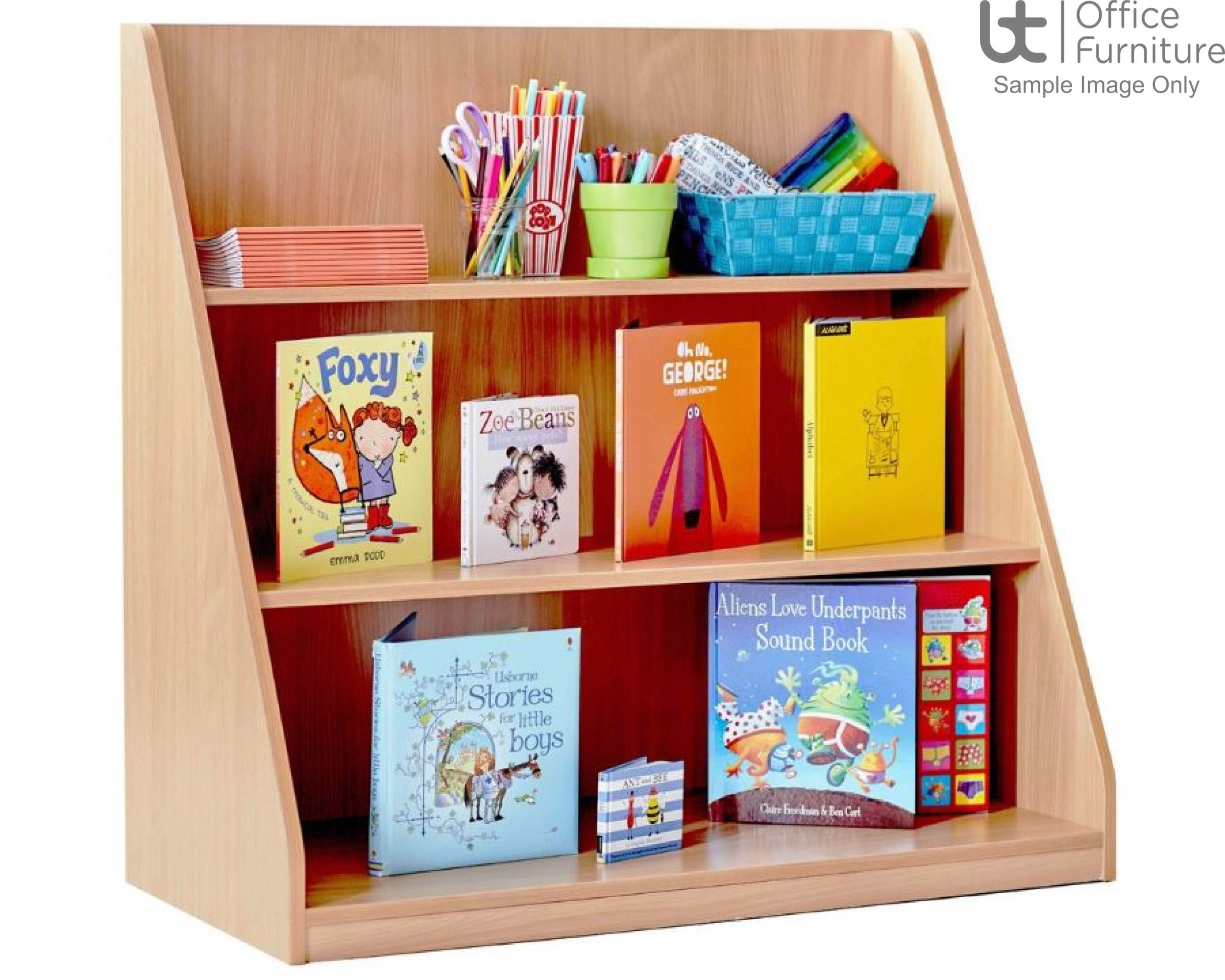 School Book Storage - Library unit, single sided with 3 fixed shelves at different depths, angled and curved side panels, static