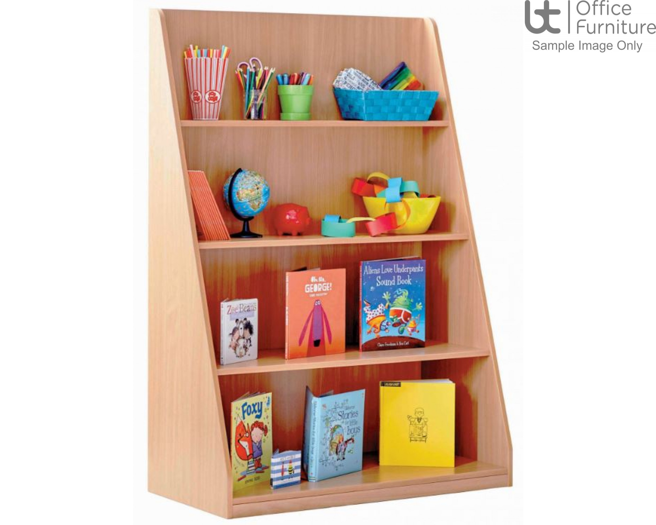 School Book Storage - Library unit, single sided with 4 fixed shelves at different depths, angled and curved side panels, static