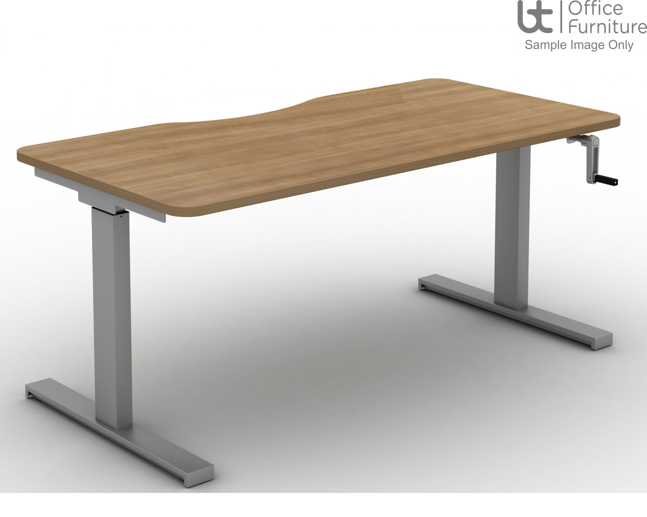 Move Crank Handle Rectangular Height Adjustable Sit-Stand Desk - Tops with Long Scallop & Rounded Corners