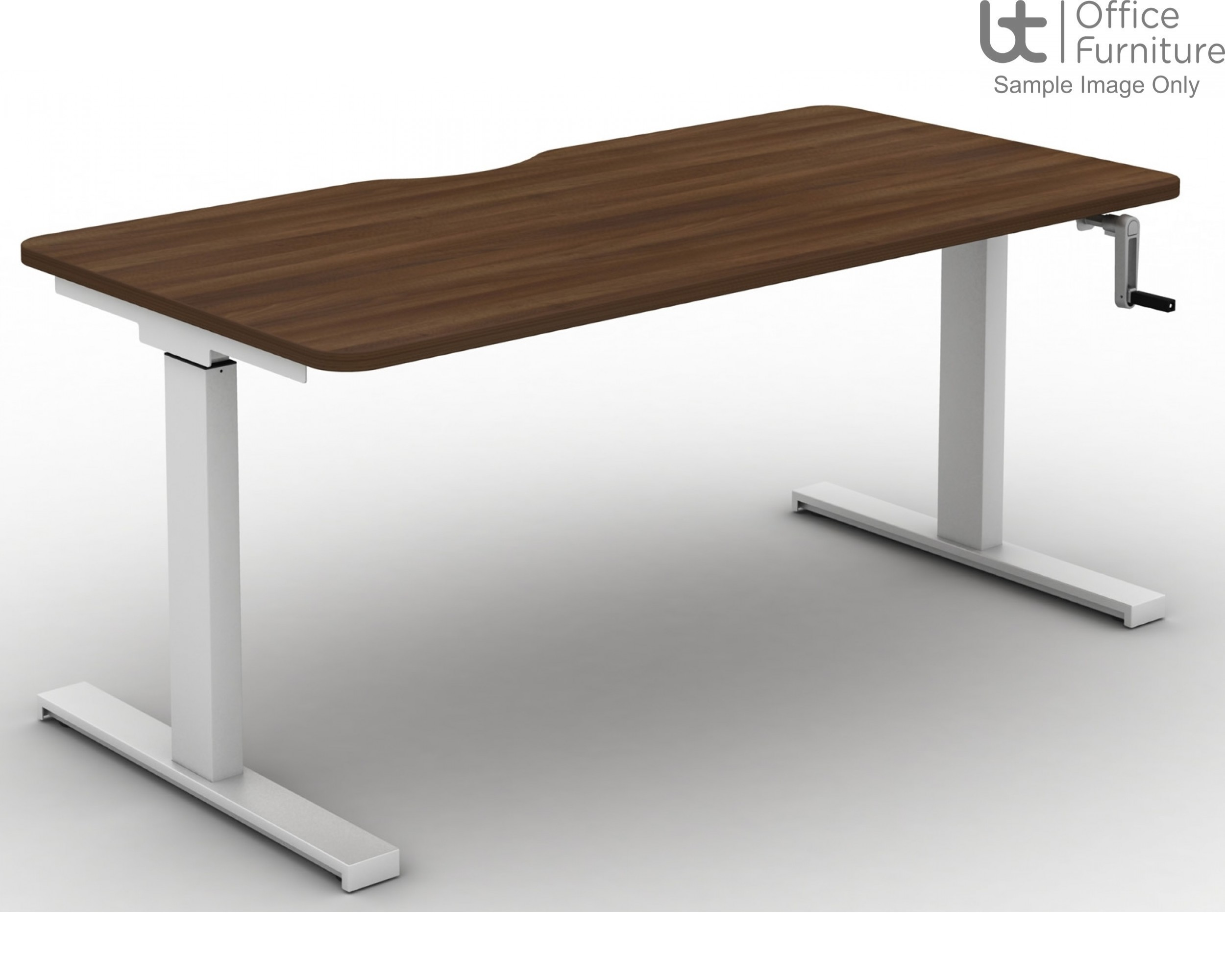 Move Crank Handle Rectangular Height Adjustable Sit-Stand Desk - Tops Scallop & Rounded Corners