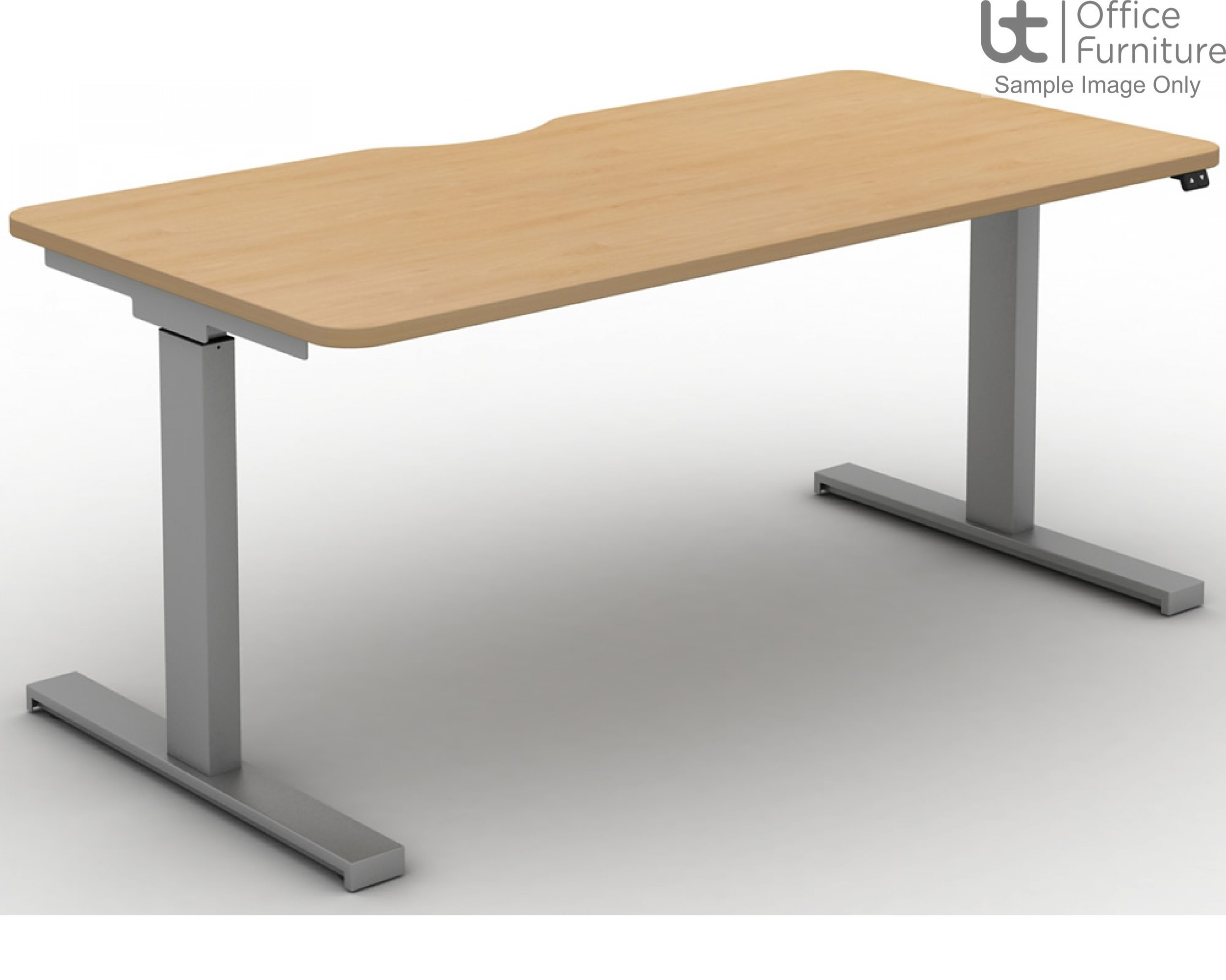 Move Electric Rectangular Height Adjustable Sit-Stand Desk - Scallop & Rounded Corners to Tops