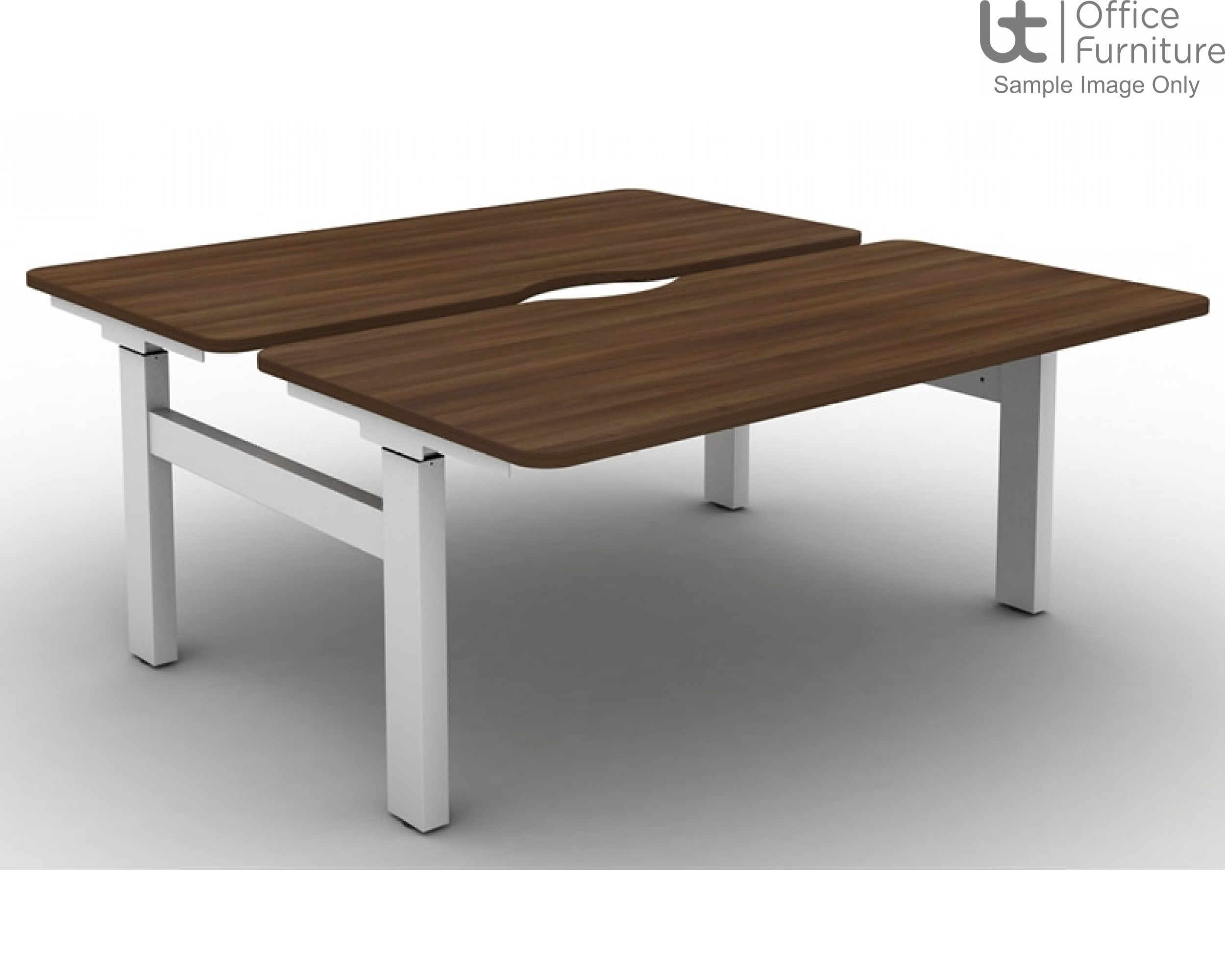 Move Set and Forget Height Adjustable Back To Back Desks with Scallop & Round Corners