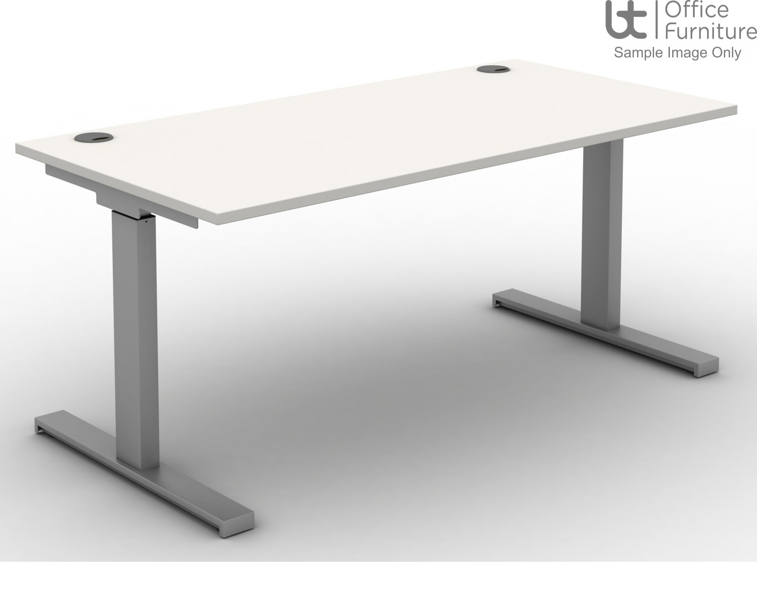 Move Set and Forget Rectangular Height Adjustable Sit-Stand Desk - Tops Cable Ports & Square Corners