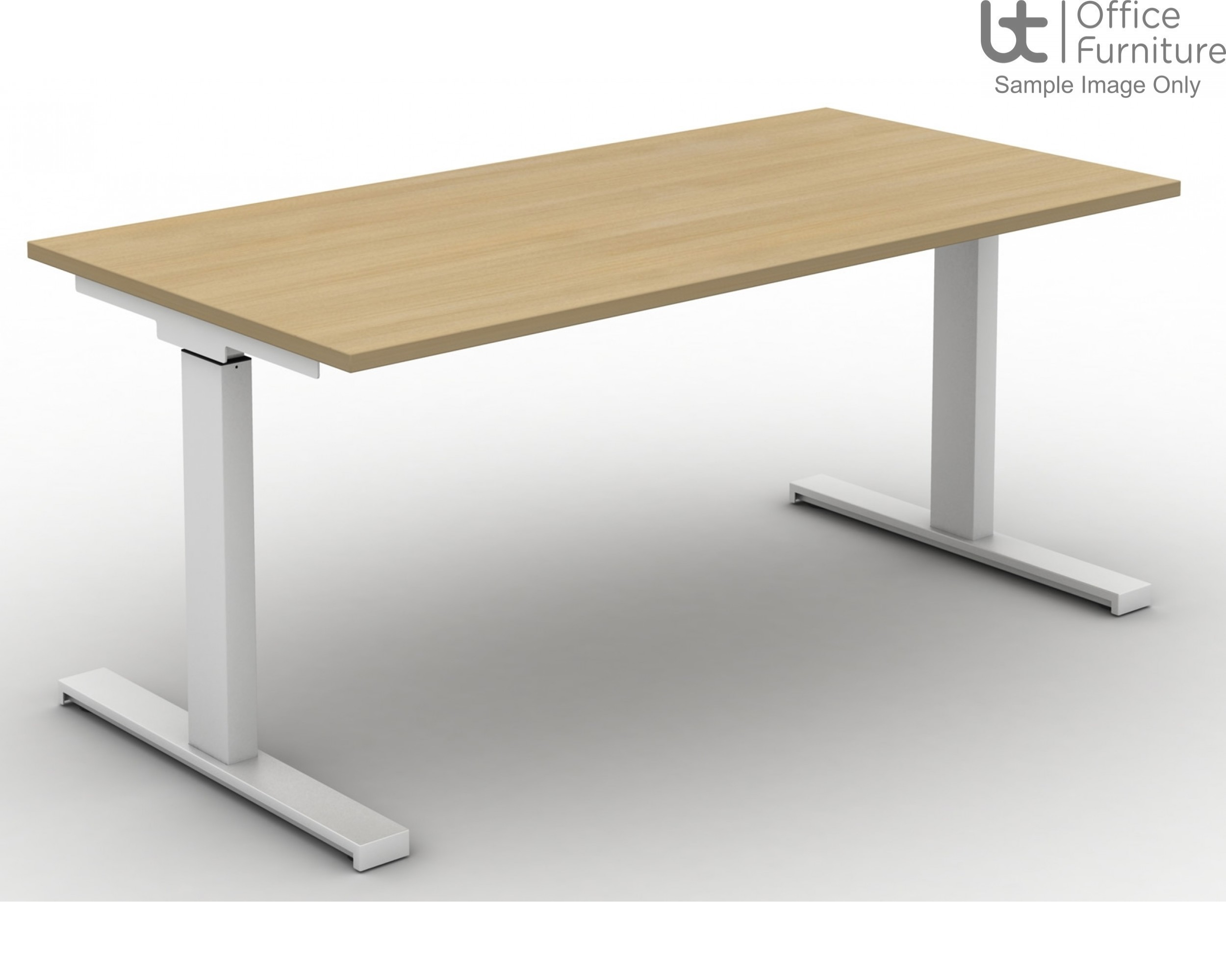 Move Set and Forget Rectangular Height Adjustable Sit-Stand Desk - Tops Square Corners