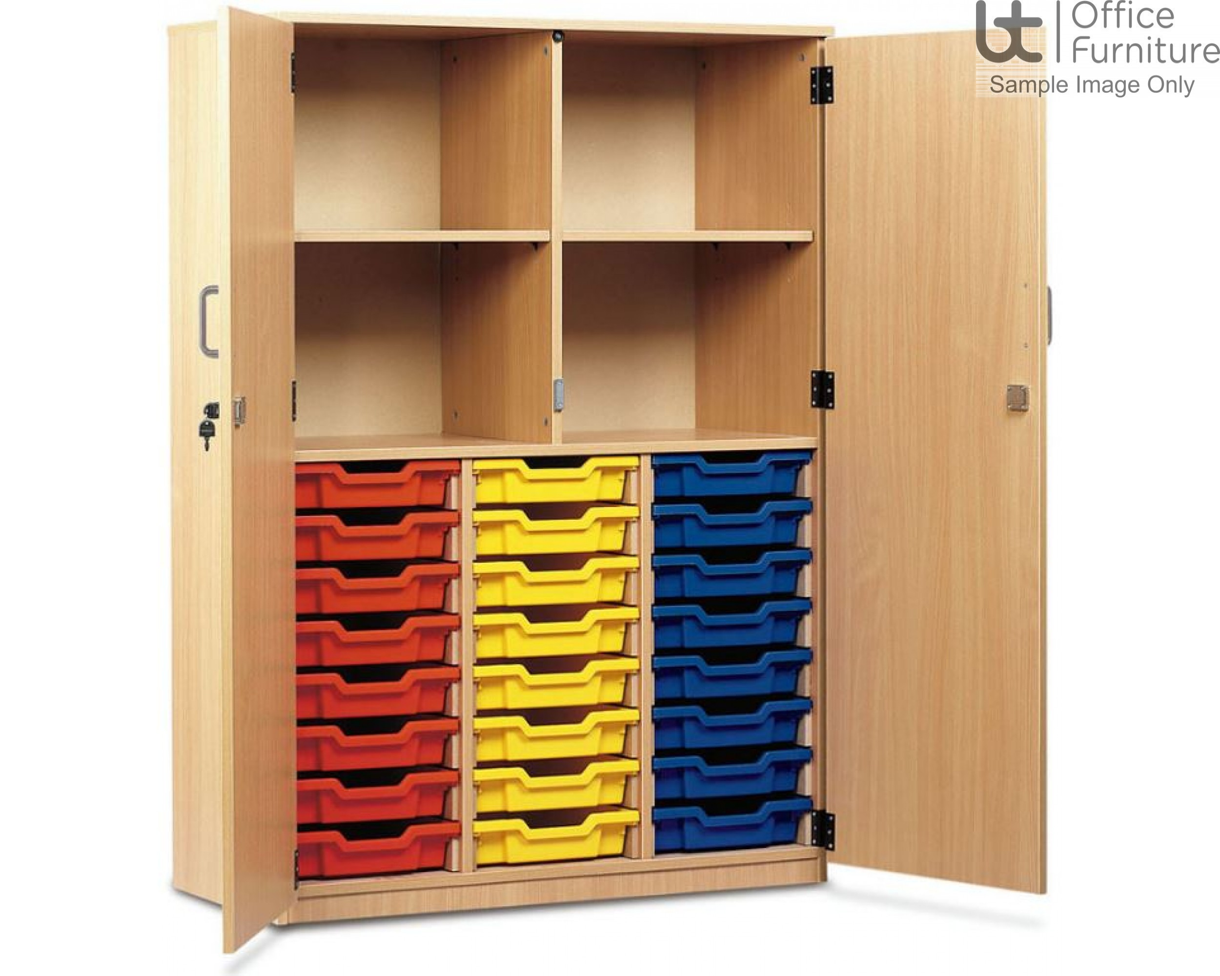 School Tray Storage - 24 Shallow Tray Fully Locking Doors Cupboard, Upper Section Has Four Compartments