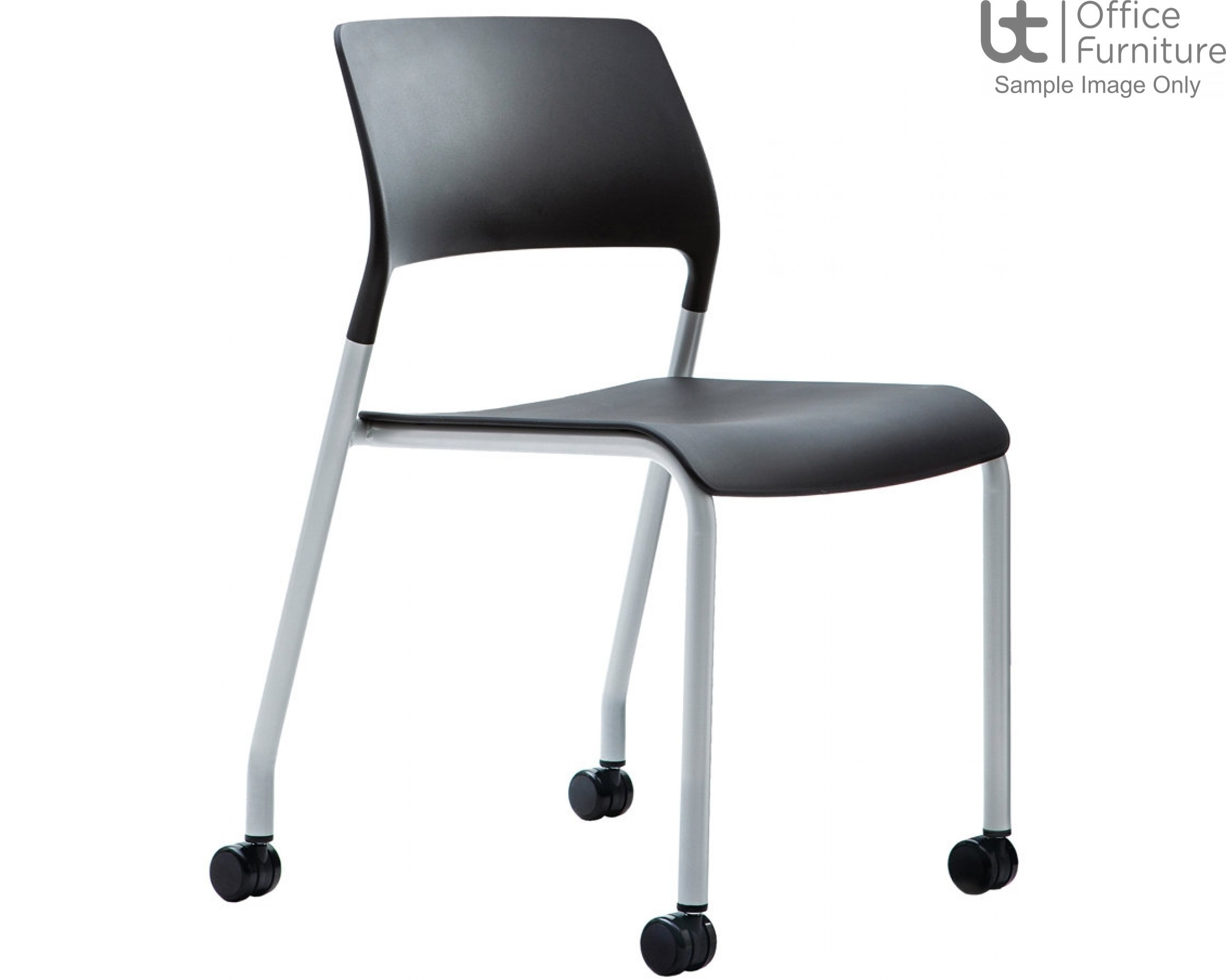 Verco Visitor / Conference Seating - Muse 4 legged Black Plastic Stacking Chair on Castors