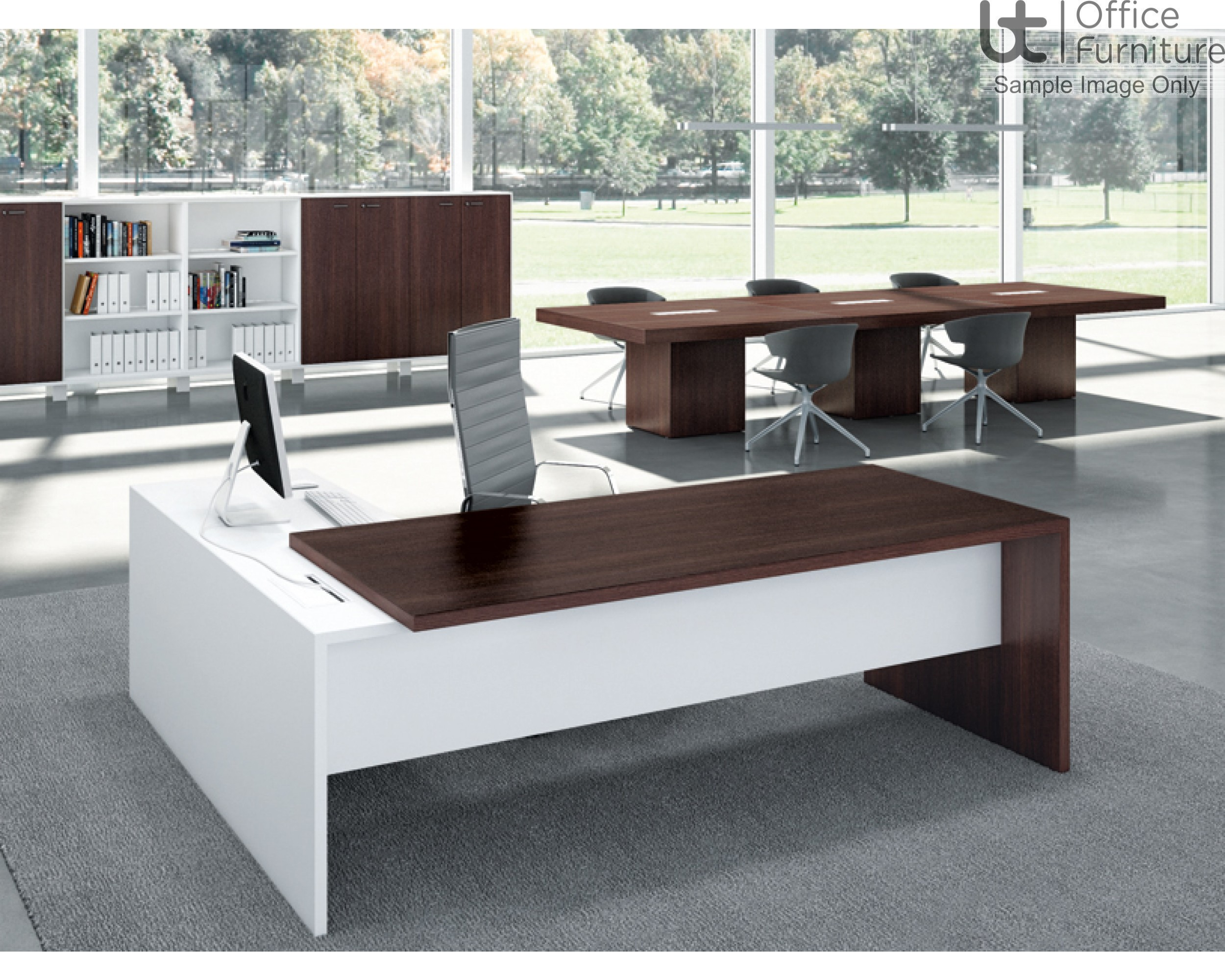 Edge Executive Rectangular Desk And Right Hand Return  Unit - 1.8 and 2m Options
