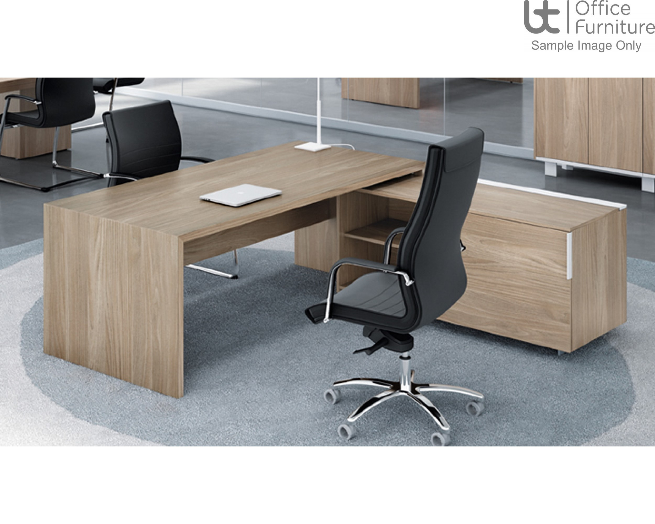 Edge Executive Rectangular Desk And Right Hand Credenza Return  Unit - 1.8 and 2m Options