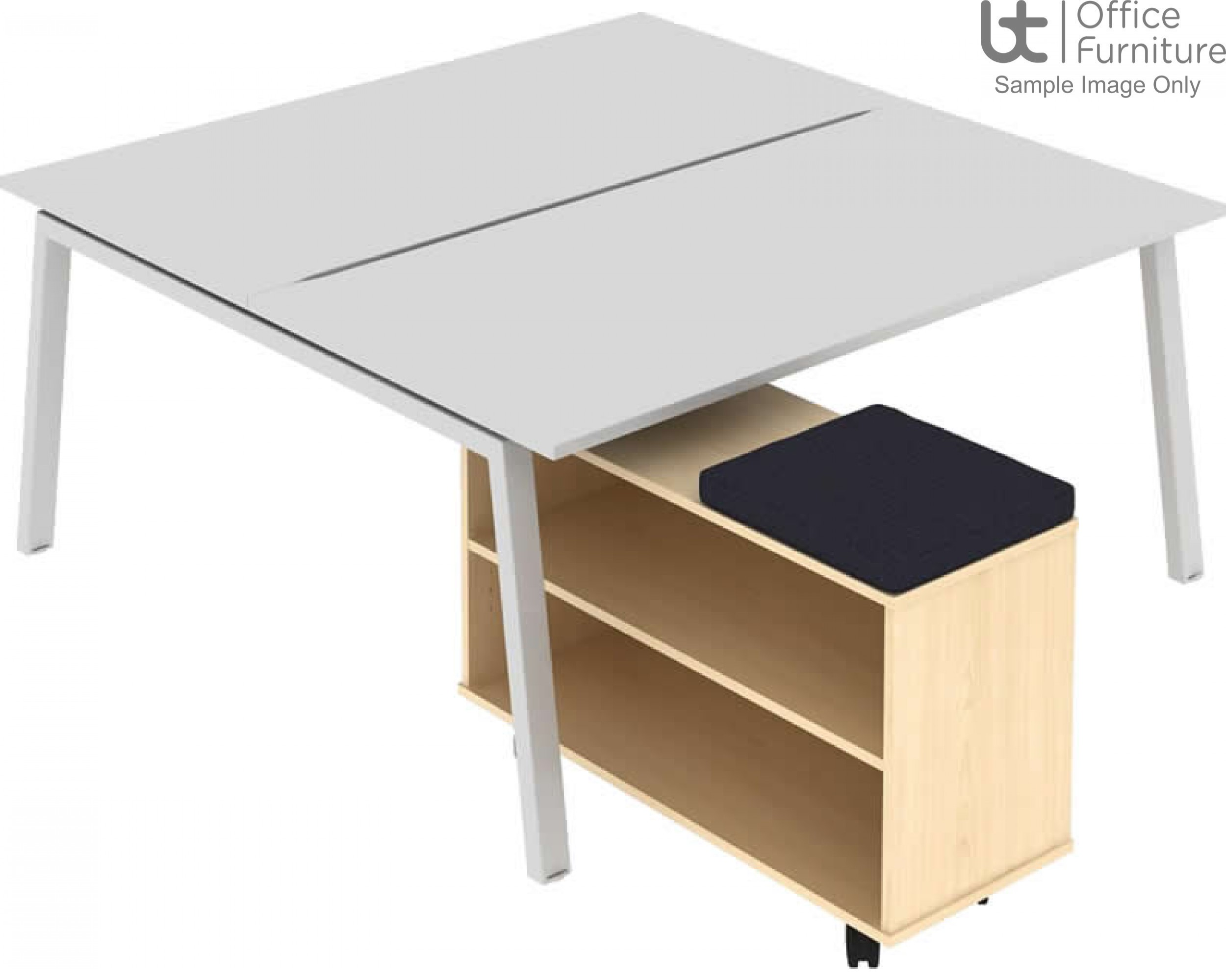 Elite Single Sided Under Desk Mobile Storage Unit with Seat Pad
