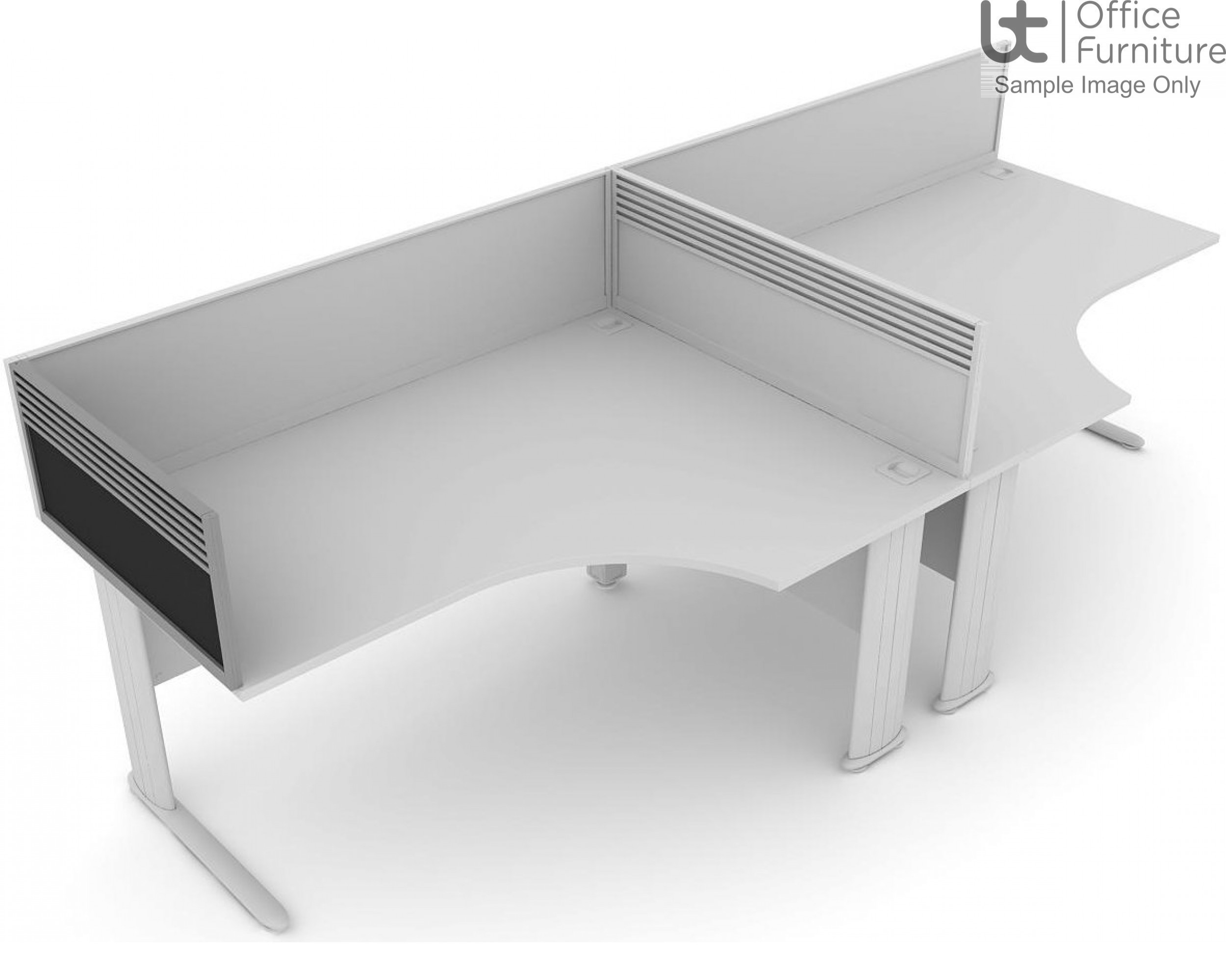 Elite System Screen End Return with Management Rail - Fabric