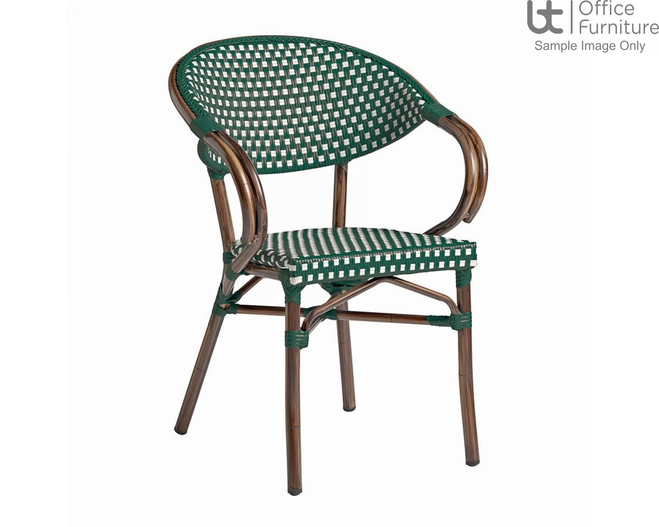 ZP PANDA Arm Chair – Green and White Weave