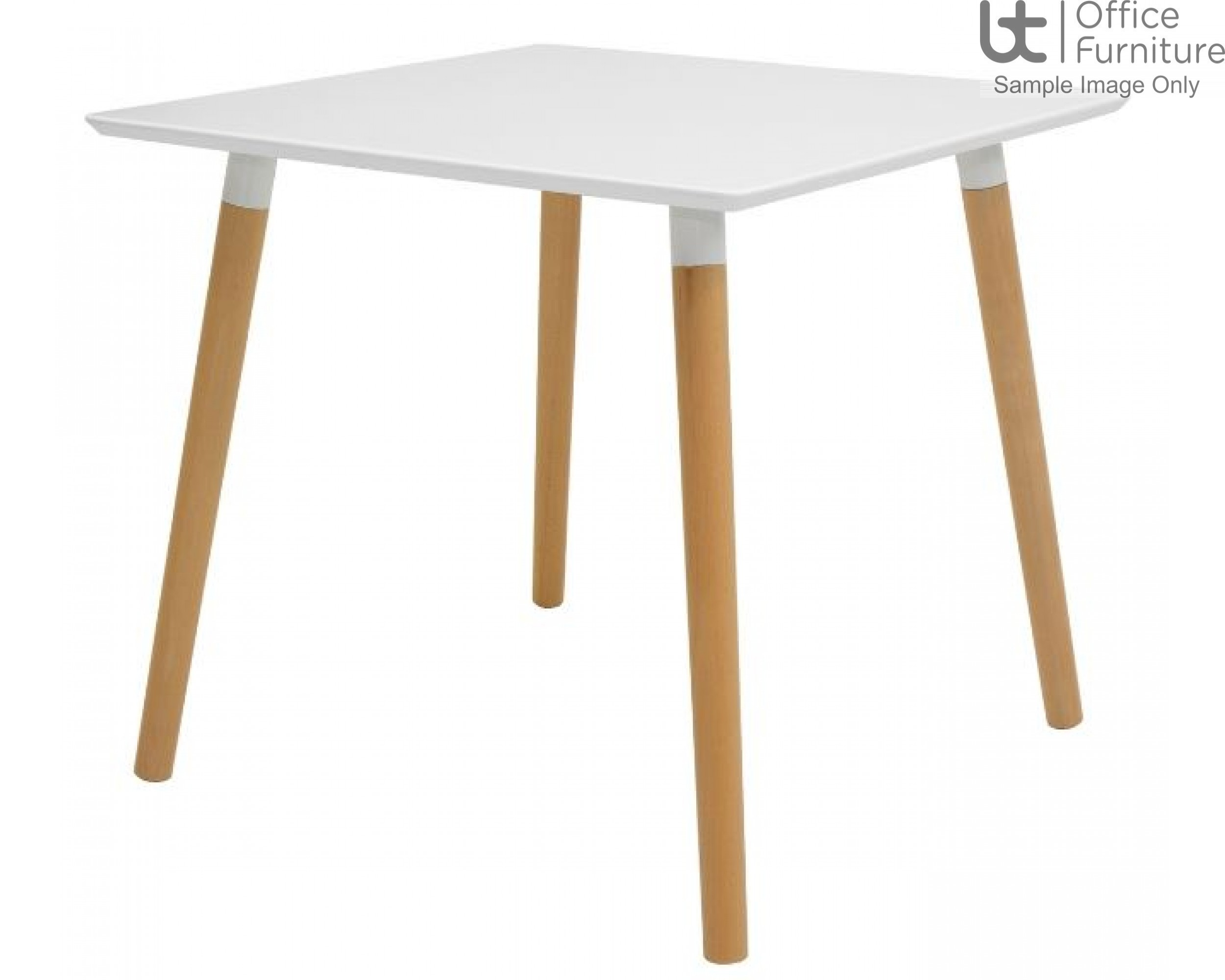 Elite Modular Meeting Table - Tondo Square Table with round Solid Beech Wooden Legs & White Tops