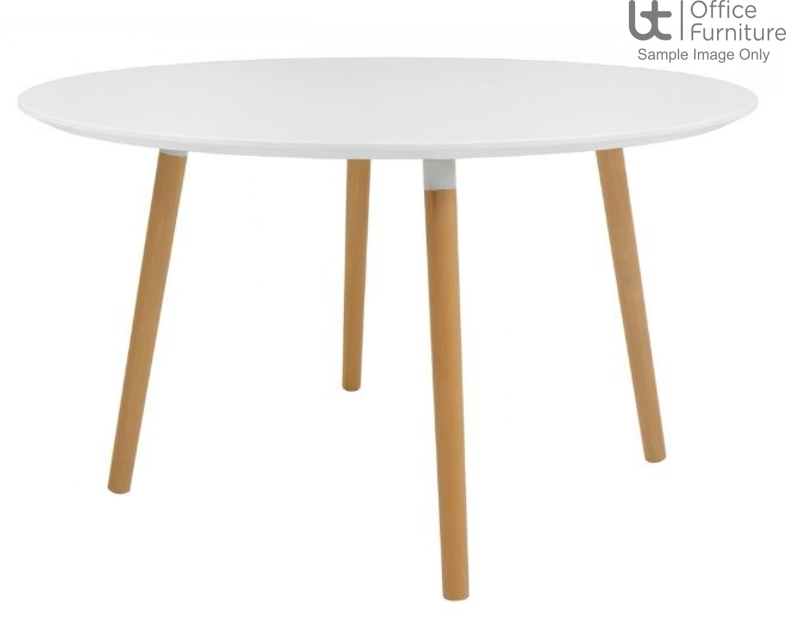 Elite Modular Meeting Table - Tondo Circular Table with round Solid Beech Wooden Legs & White Tops