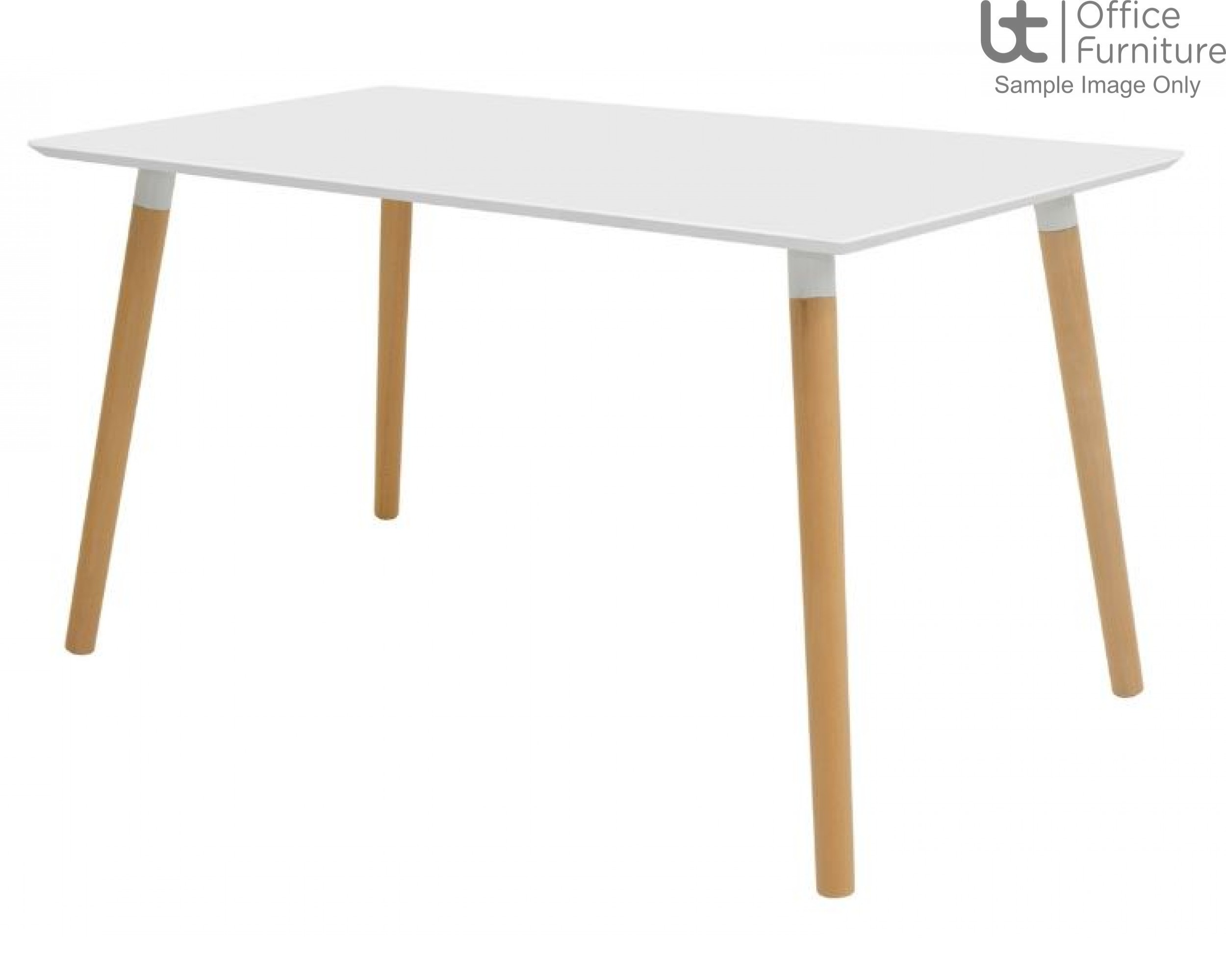 Elite Modular Meeting Table - Tondo Rectangular Table with round Solid Beech Wooden Legs & White Tops
