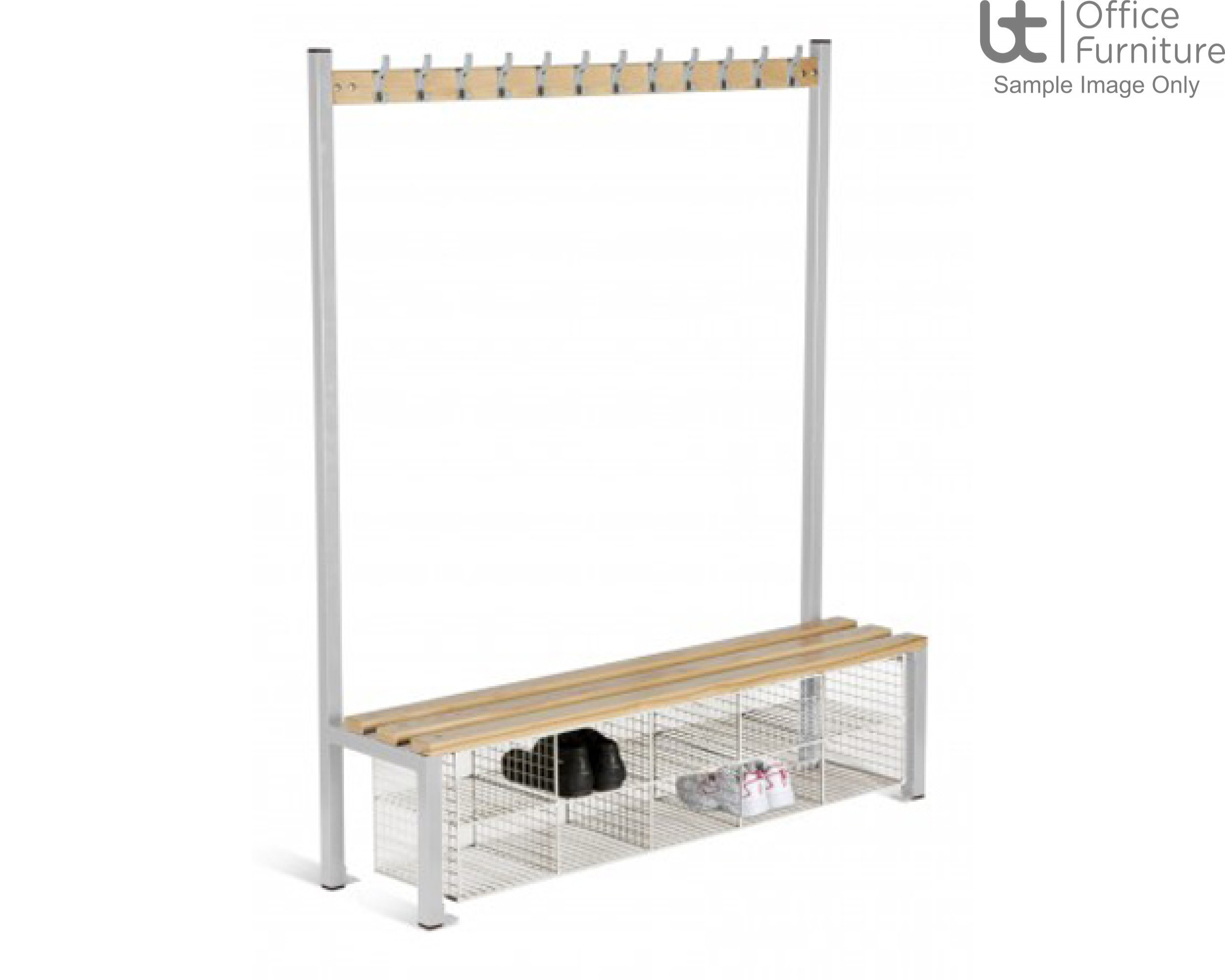 HOF Cloakroom Equipment - Single Sided Island Seating with Compartments