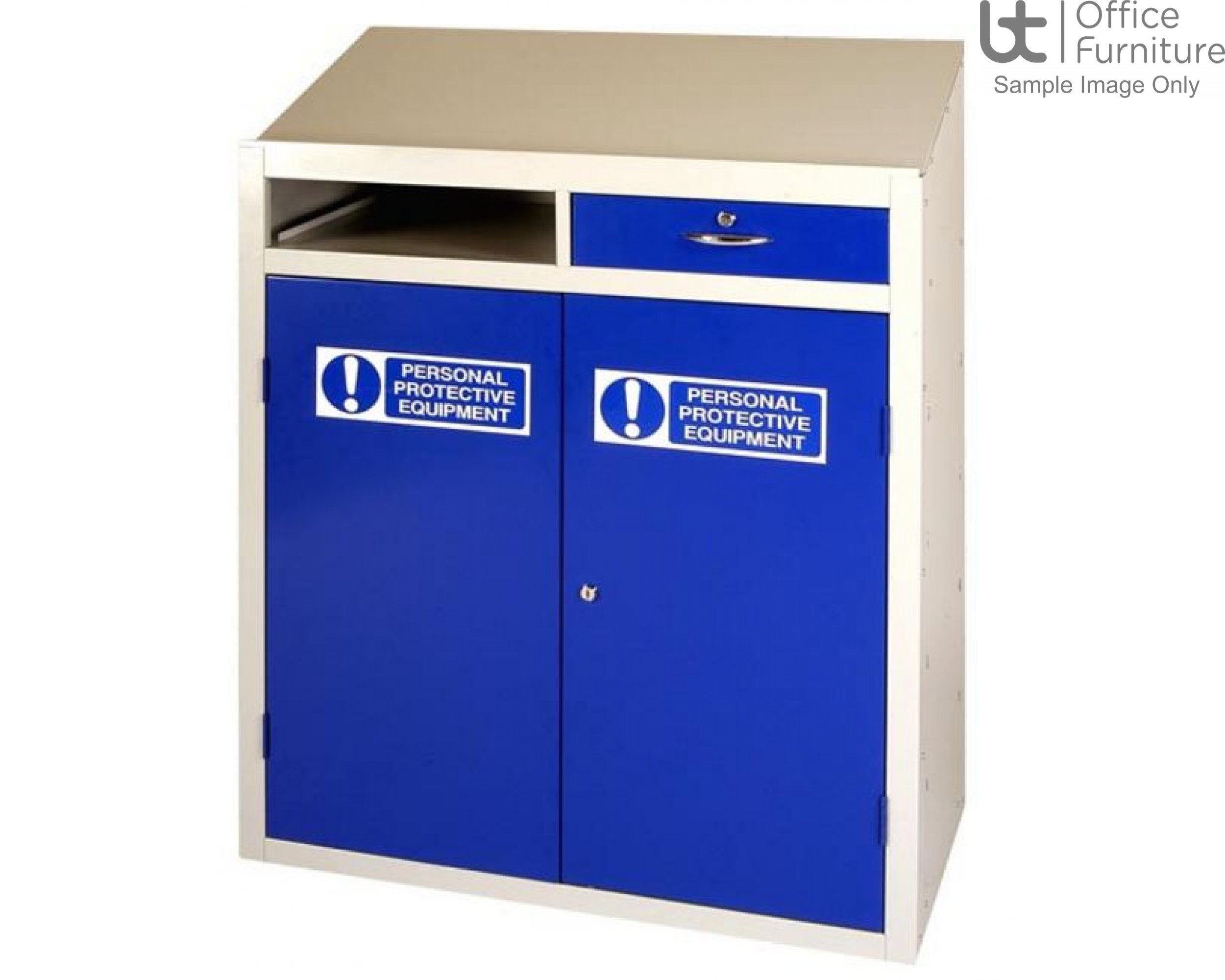 PPE Workstation with Single Locking Drawer