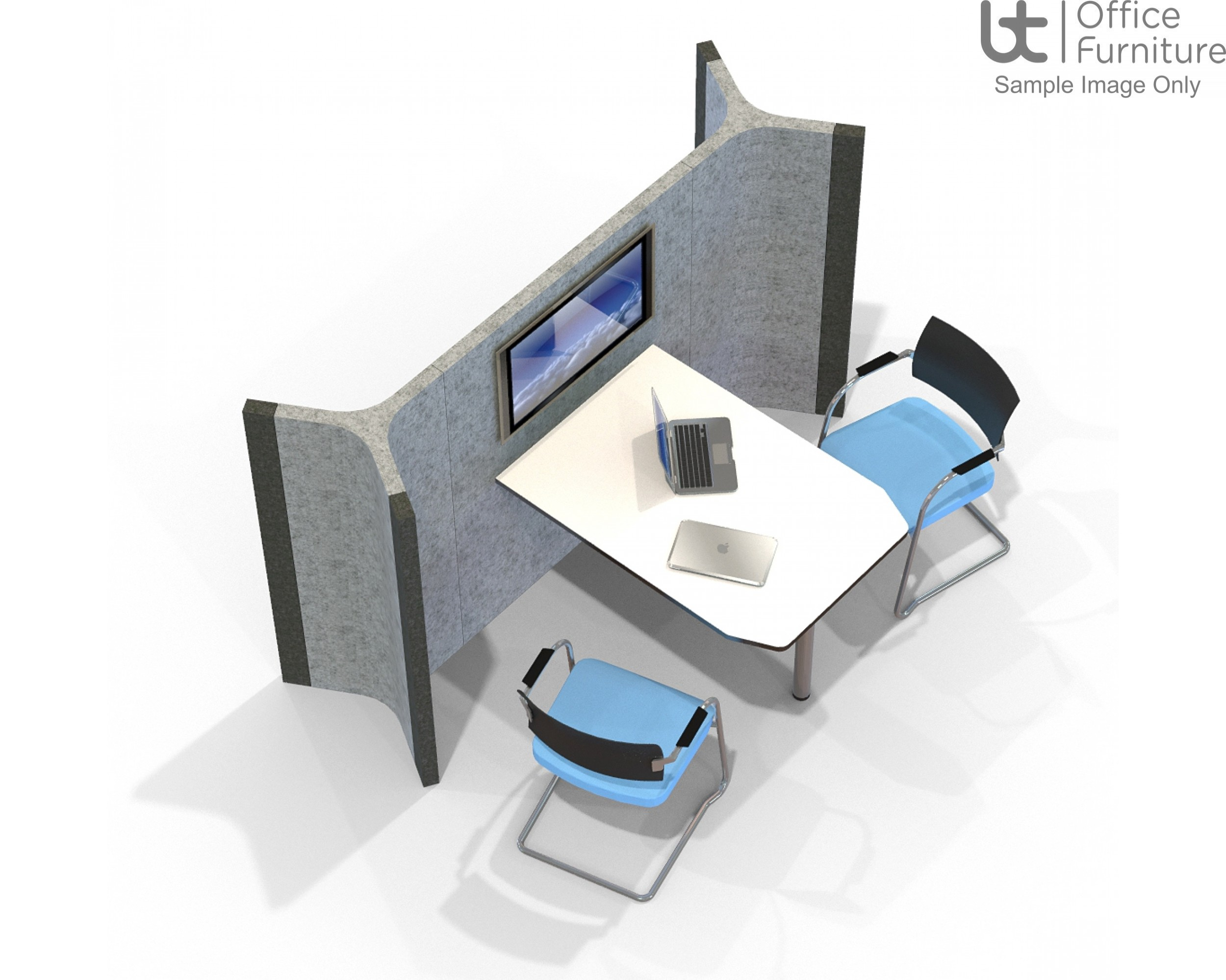 Acoustic Meeting - Media Wall Booth with 3 Panel Height Options & 3 Desk Width options