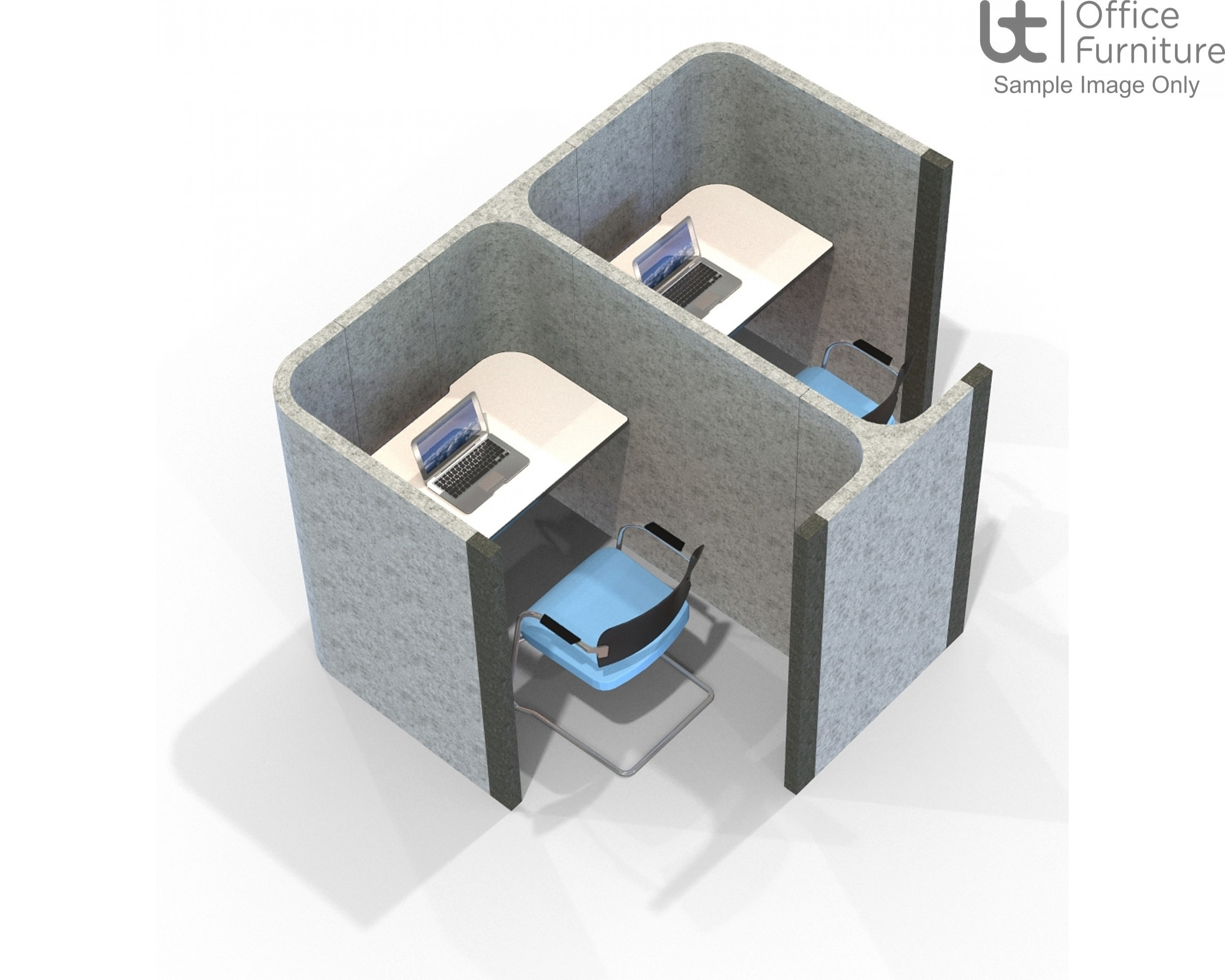 Acoustic Learning - Side by Side Double Study Booths Including Desks 1400mm High