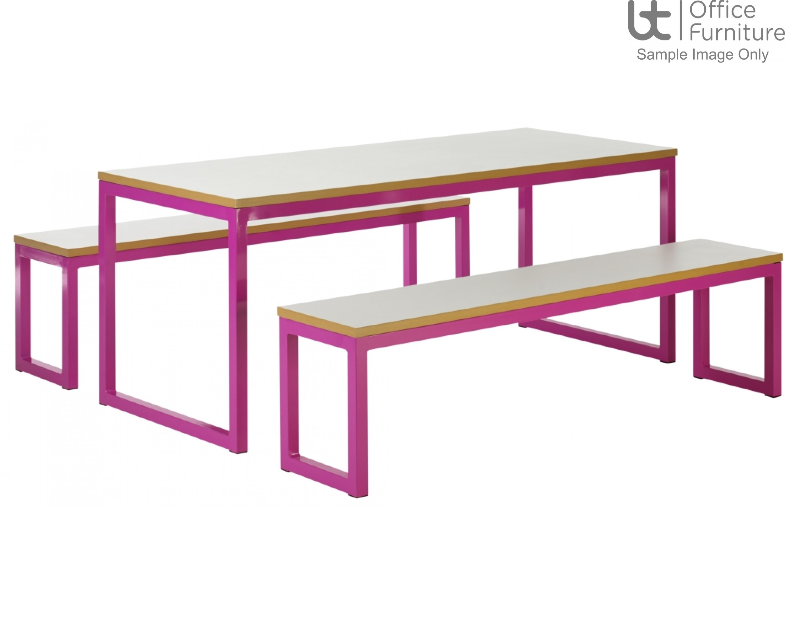 City 40/40 Robust 40mm Laminate Top School Bench Dining Sets W2200mm (Premium Frame Colours)