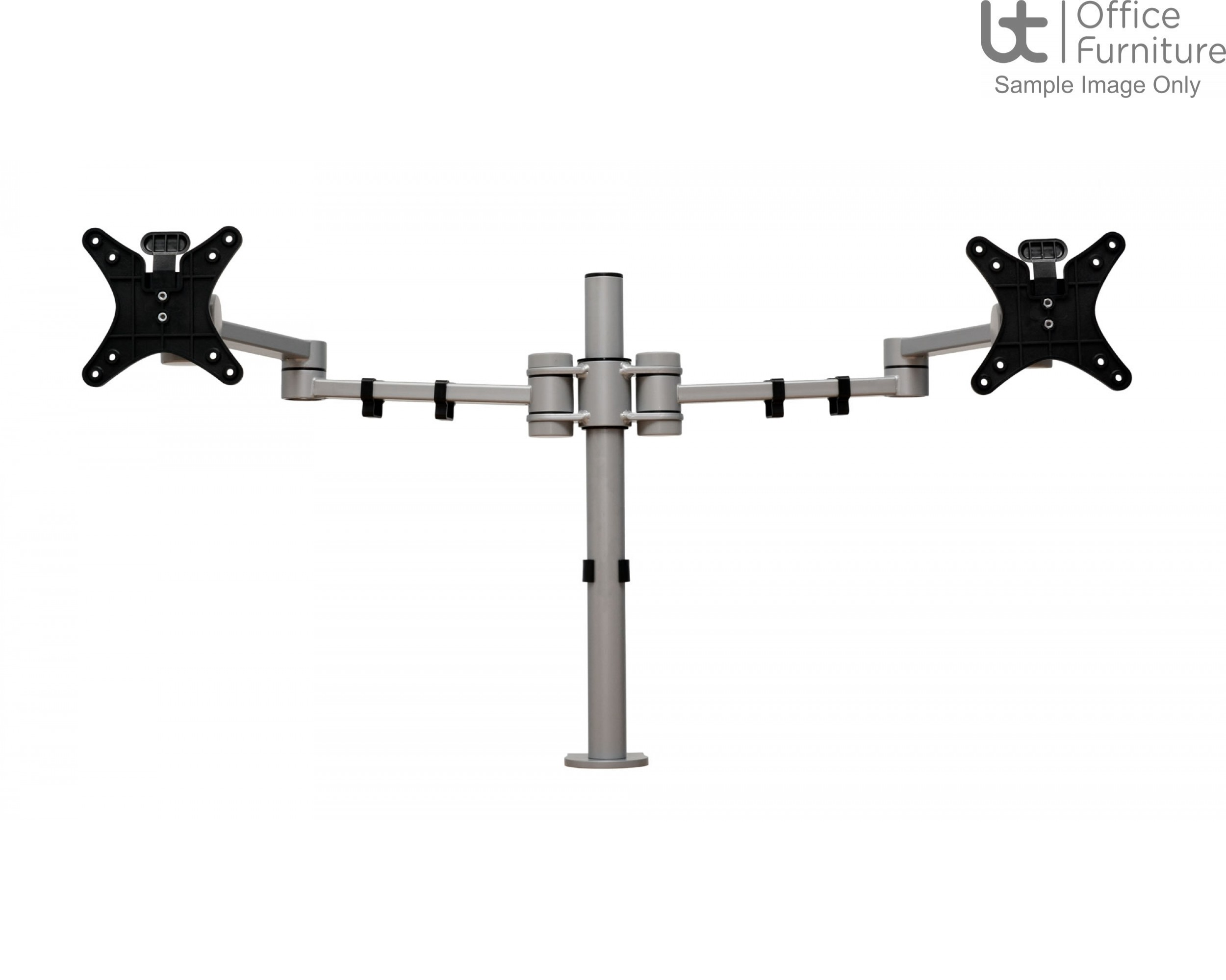 Vision S double pole monitor arm with C clamp, bolt through & grommet mount fixing kit with Quick Release VESA Plate