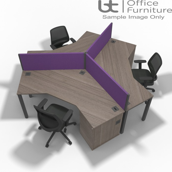 BTC - 120 Degree Desk with Integrated Right Hand 3 Drawer Pedestal Set