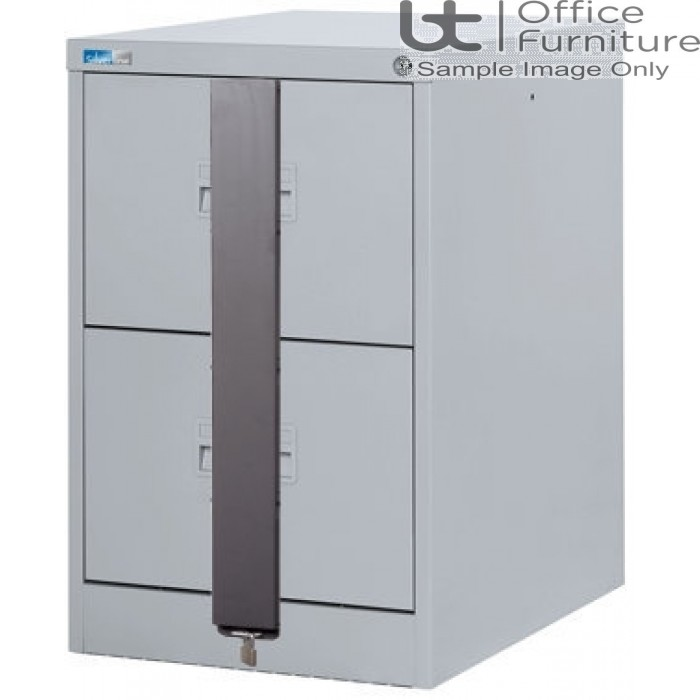Silverline Midi A4 2 Drawer Filing Cabinet + Security Bar