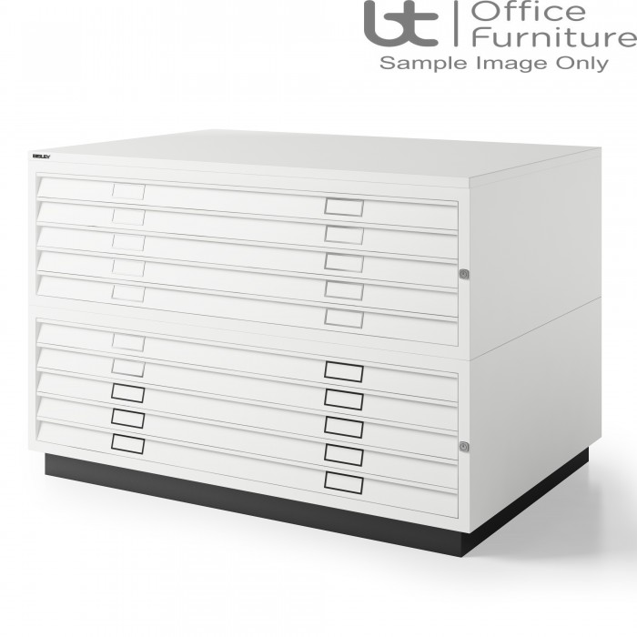 Bisley Steel A0 10 Drawer Plan Chest Complete With Top & Plinth