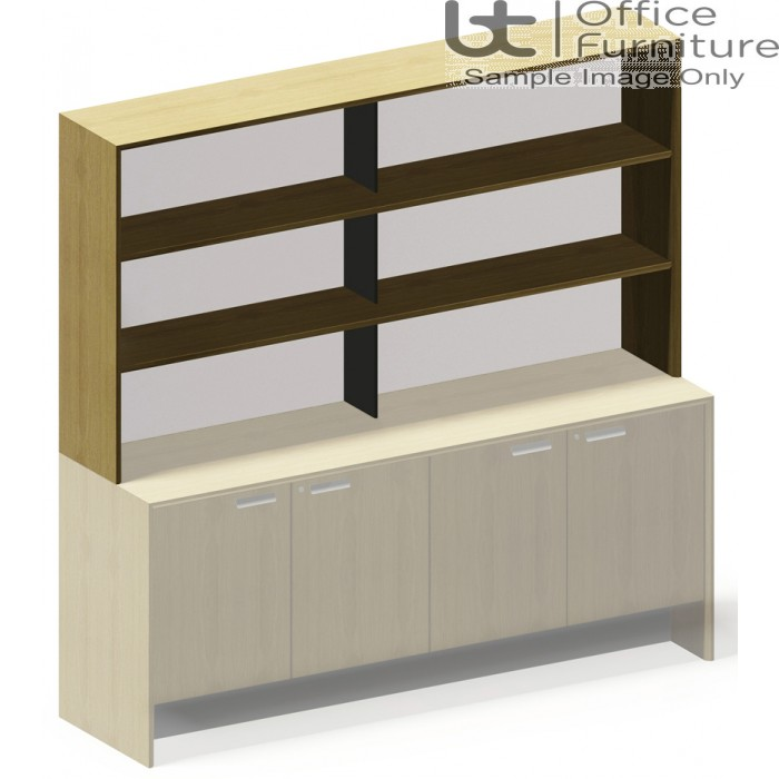 Aston Over Credenza Bookcase Unit with Double Open Shelf