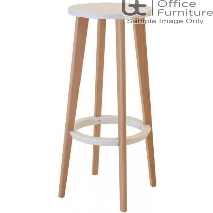 Verco Multi Pupose Seating - Button Stool + White Plastic Seat with Beech Leg Frame & White footrest