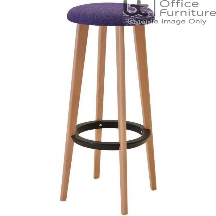 Verco Multi Pupose Seating - Button Stool + Upholstered Seat with Beech Leg Frame & Black footrest