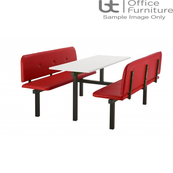 Bench 6 Seat Modular Canteen Fast food Unit - Red Vinyl Seats