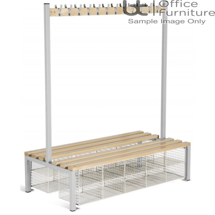 Locker Room (EL) -  Double Sided Island Seating Bench with Compartments or Changing Room