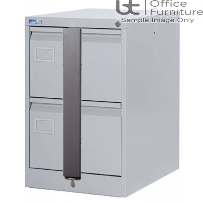 Silverline Executive Foolscap 2 Drawer Filing Cabinet + Security Bar