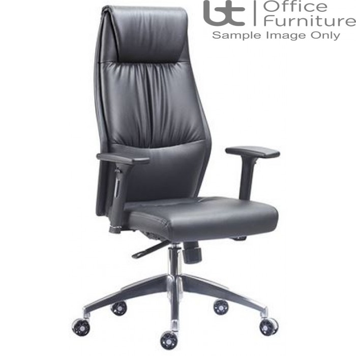 Aurora Seating - High Back Black Faux Leather Executive Armchair
