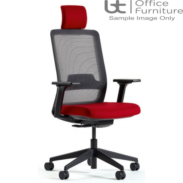 Verco Operator/Task Chair - Max High Back Task Chair with Headrest with Adjustable Arms