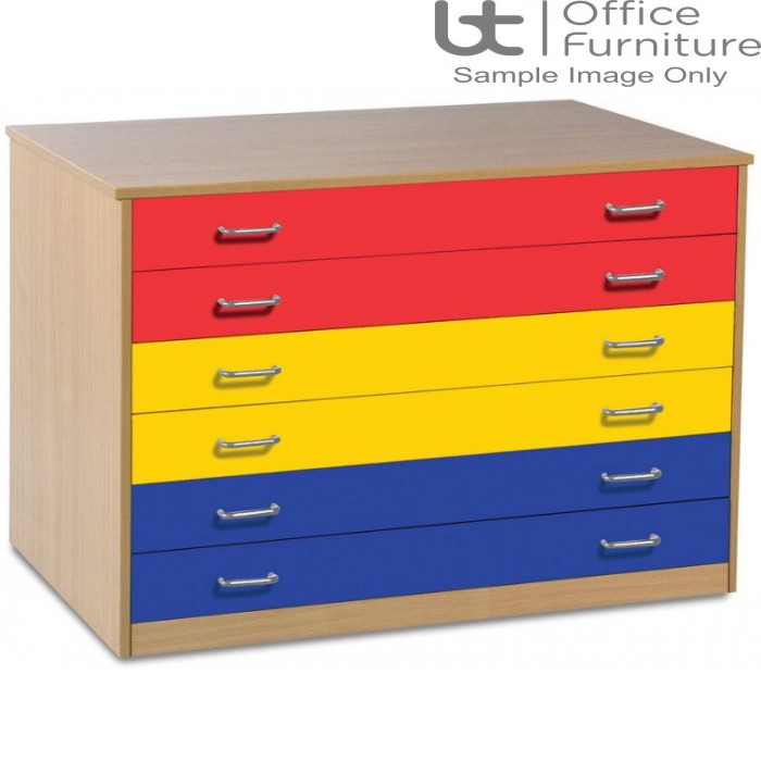 School Art Storage - 6 coloured drawer plan chest static or mobile, beech carcass
