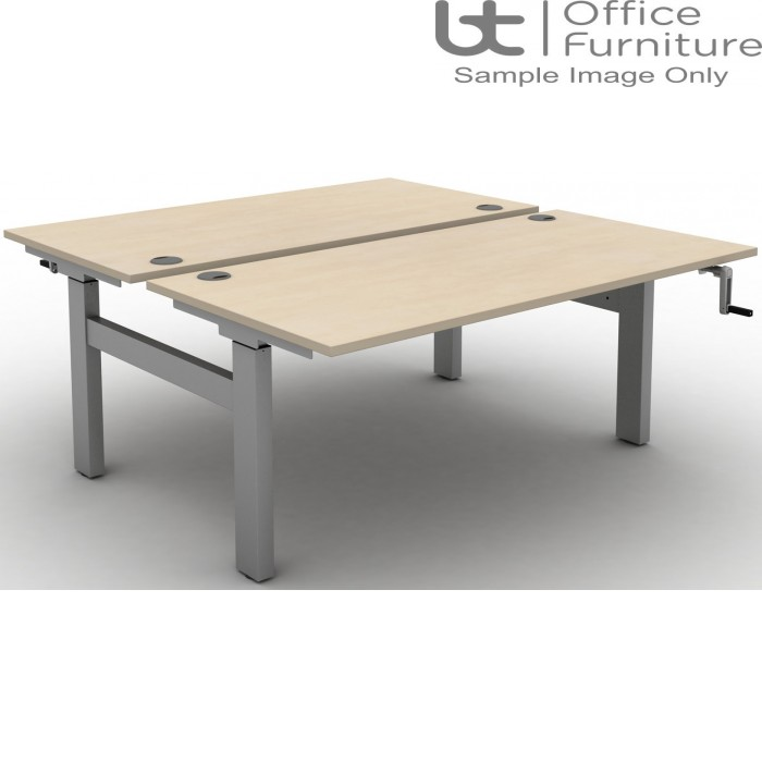Move Crank Handle Height Adjustable Back To Back Sit-Stand Desk - Tops with Cable Ports & Square Corners