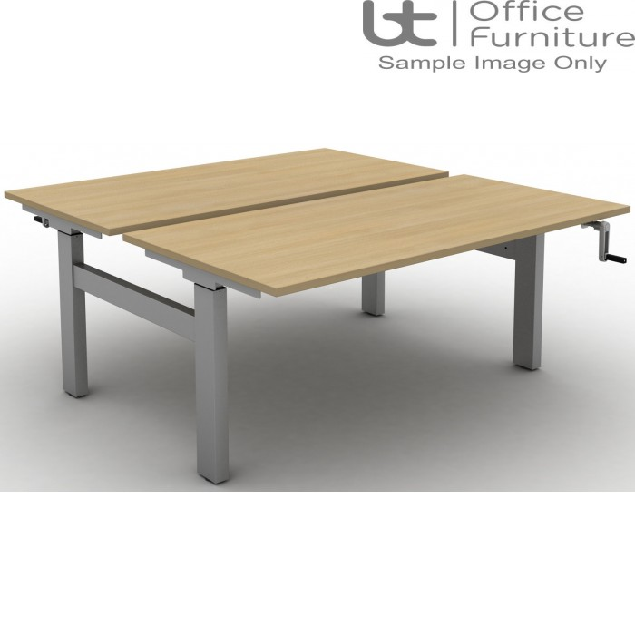 Move Crank Handle Height Adjustable Back To Back Sit-Stand Desk - Tops with Square Corners