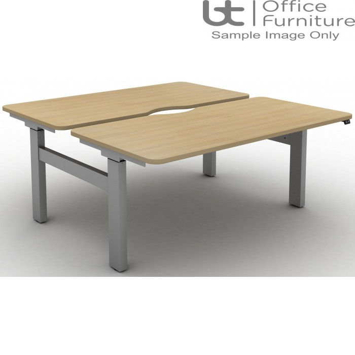 Move Electric Height Adjustable Back To Back Sit-Stand Desks with Scallops & Rounded Corners