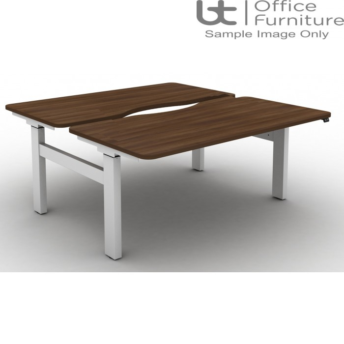 Move Electric Height Adjustable Back To Back Sit-Stand Desks with Long Scallops & Rounded Corners