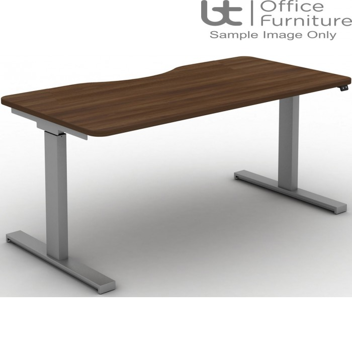 Move Electric Rectangular Height Adjustable Sit-Stand Desk - Long Scallop & Rounded Corners to Tops