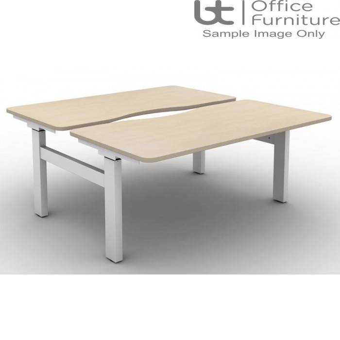 Move Set and Forget Height Adjustable Back To Back Desks with Long Scallop & Round Corners